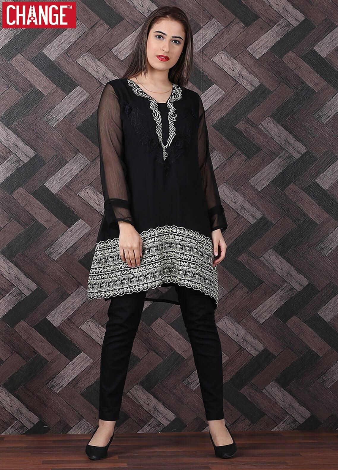 Change Embroidered Chiffon Stitched Kurtis CK 2062 Black