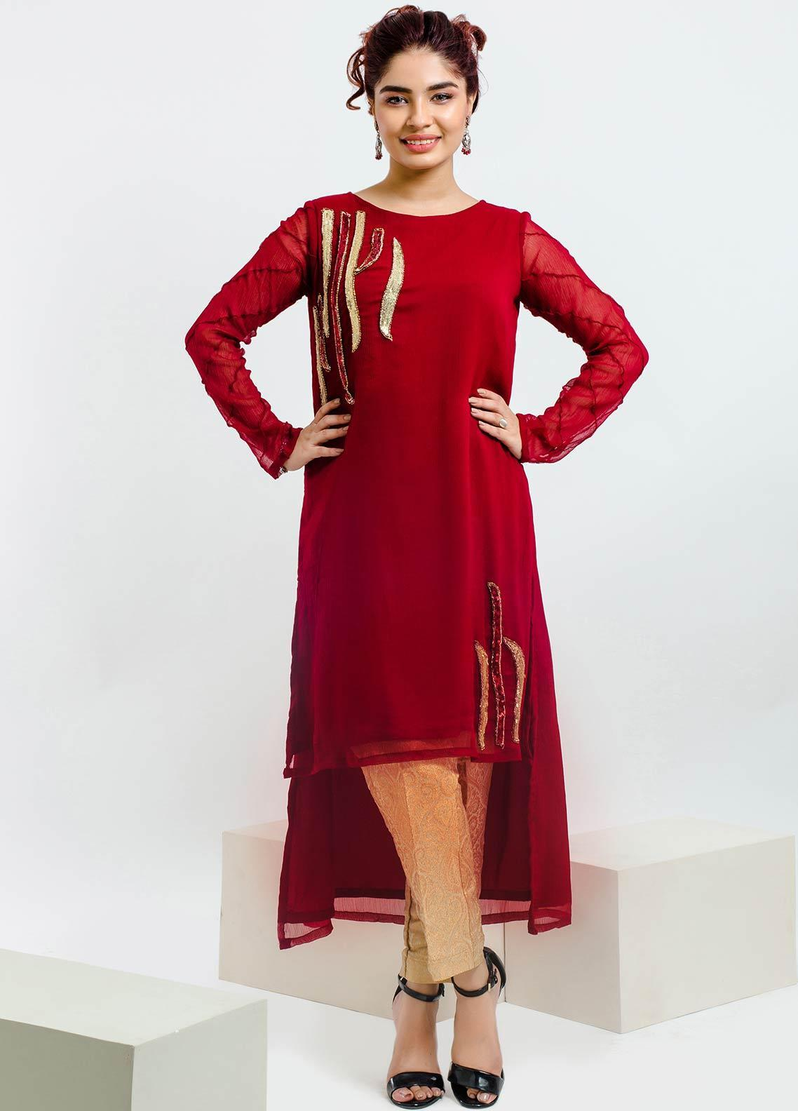 Change Embroidered Chiffon Stitched Kurtis CK2090 Maroon