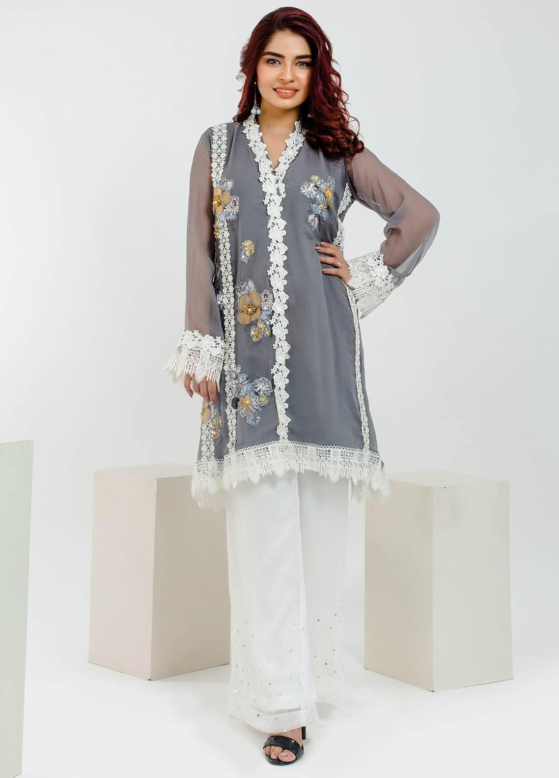 Change Embroidered Chiffon Stitched Kurtis CK2105 Grey