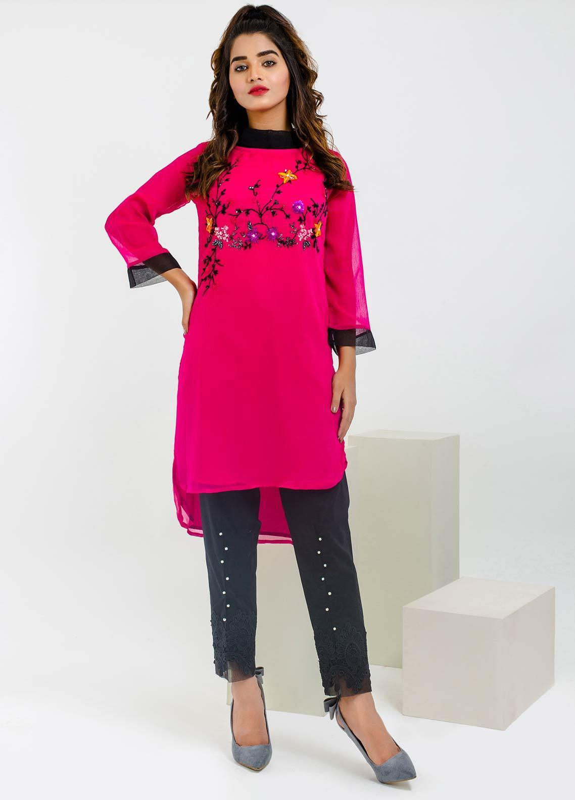 Change Embroidered Chiffon Stitched Kurtis CK2158 Hot Pink