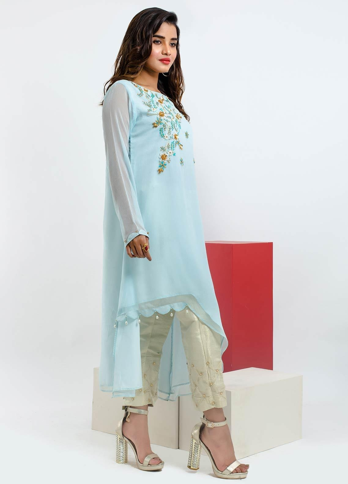 Change Embroidered Chiffon Stitched Kurtis CK2177 Blue