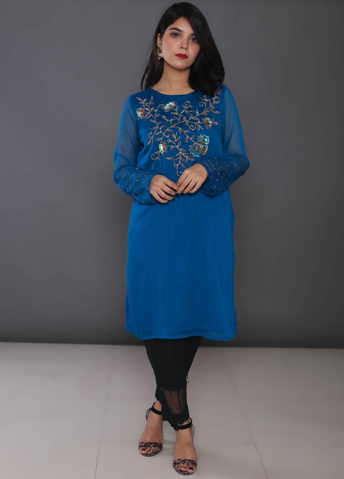 Change Embroidered Chiffon Stitched Kurtis CK2179 Teal Blue