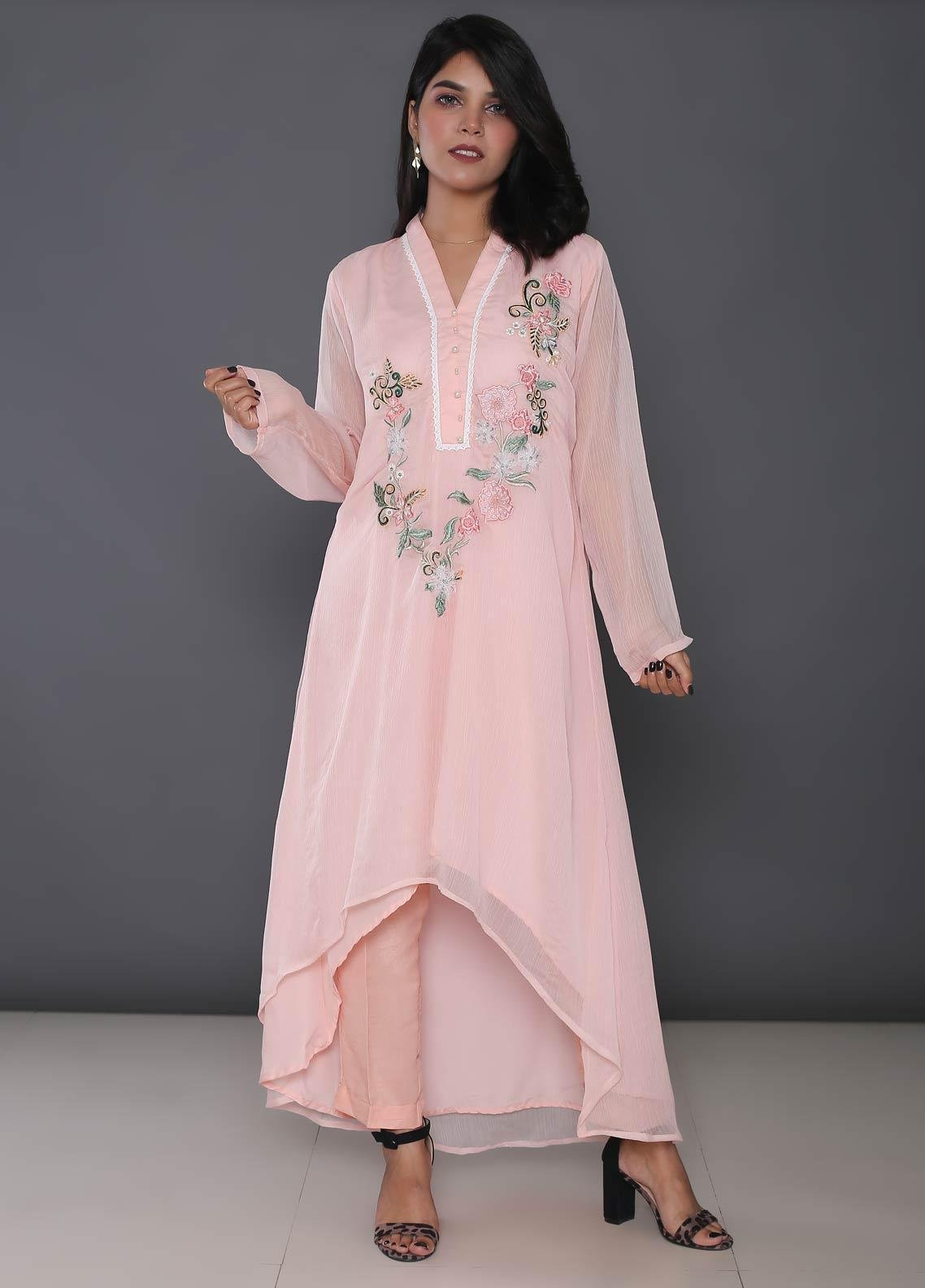 Change Embroidered Chiffon Stitched Kurtis CK2181 Pink