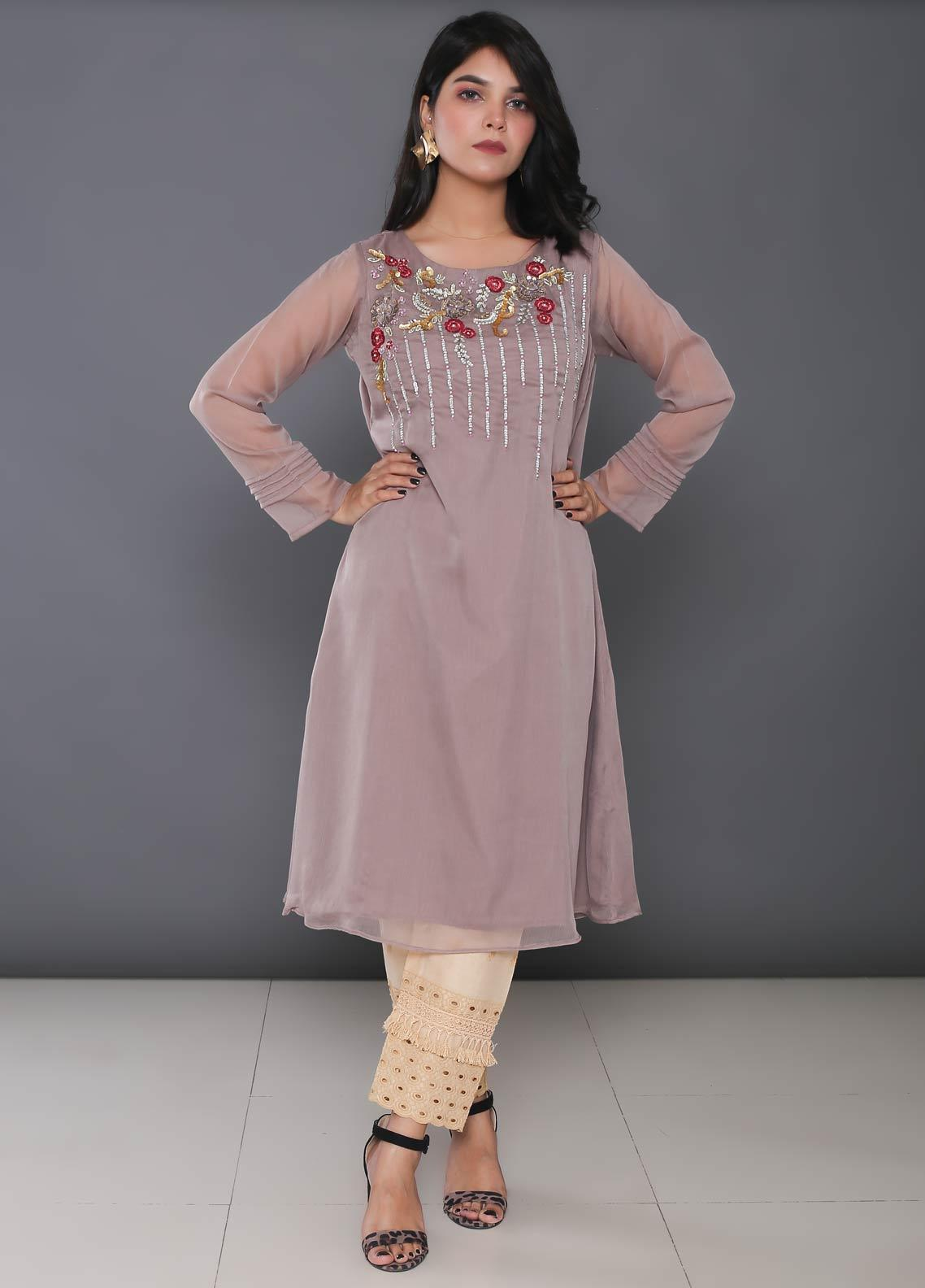 Change Embroidered Chiffon Stitched Kurtis CK2185 Coffee