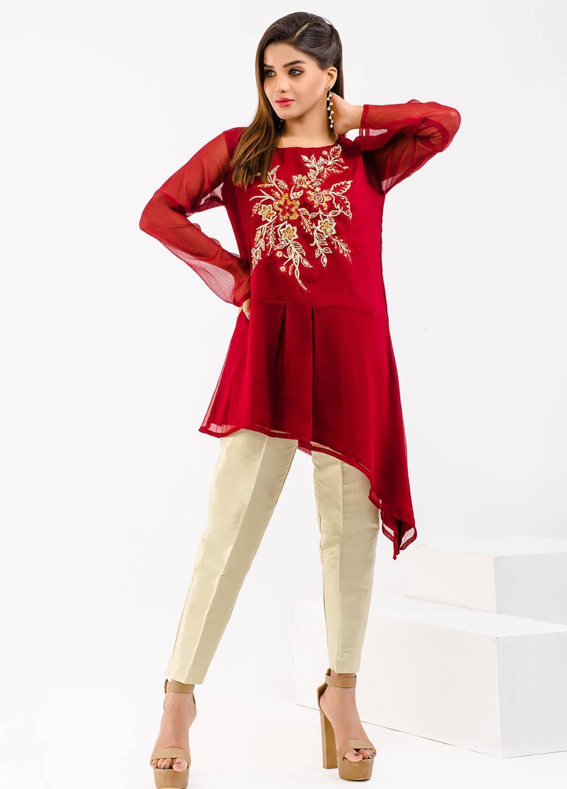 Change Embroidered Chiffon Stitched Kurtis CW1801 MAROON