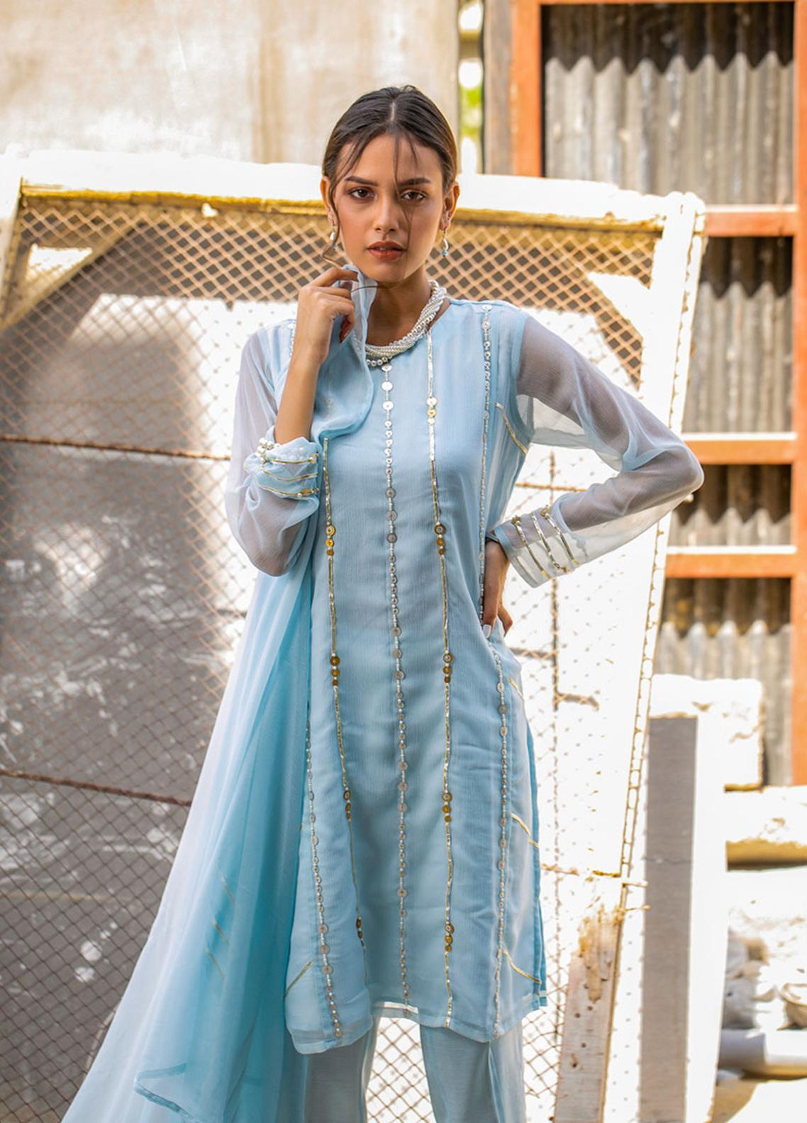 Change Embroidered Chiffon Stitched 3 Piece Ladies 3Pc Suit CK2291 Chambray Blue-S