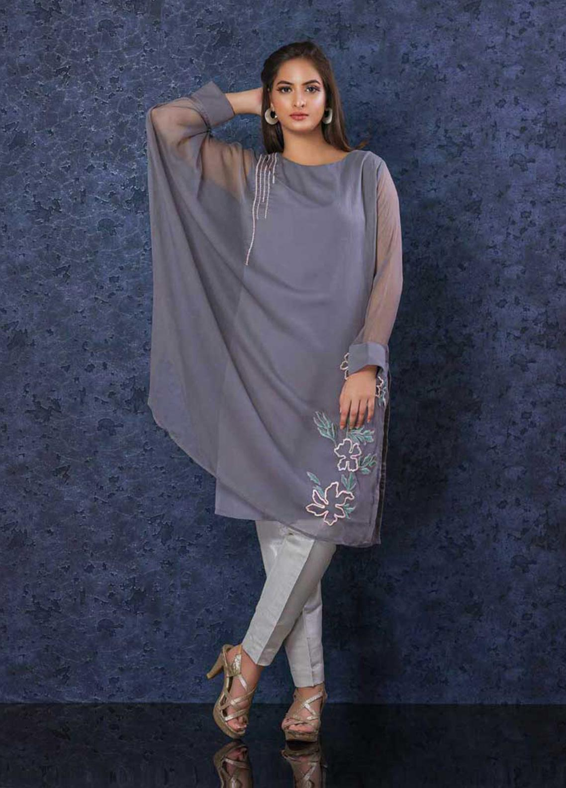 Change Embroidered Chiffon Stitched Kurties Ladies Kurti CK2309 Grey-S