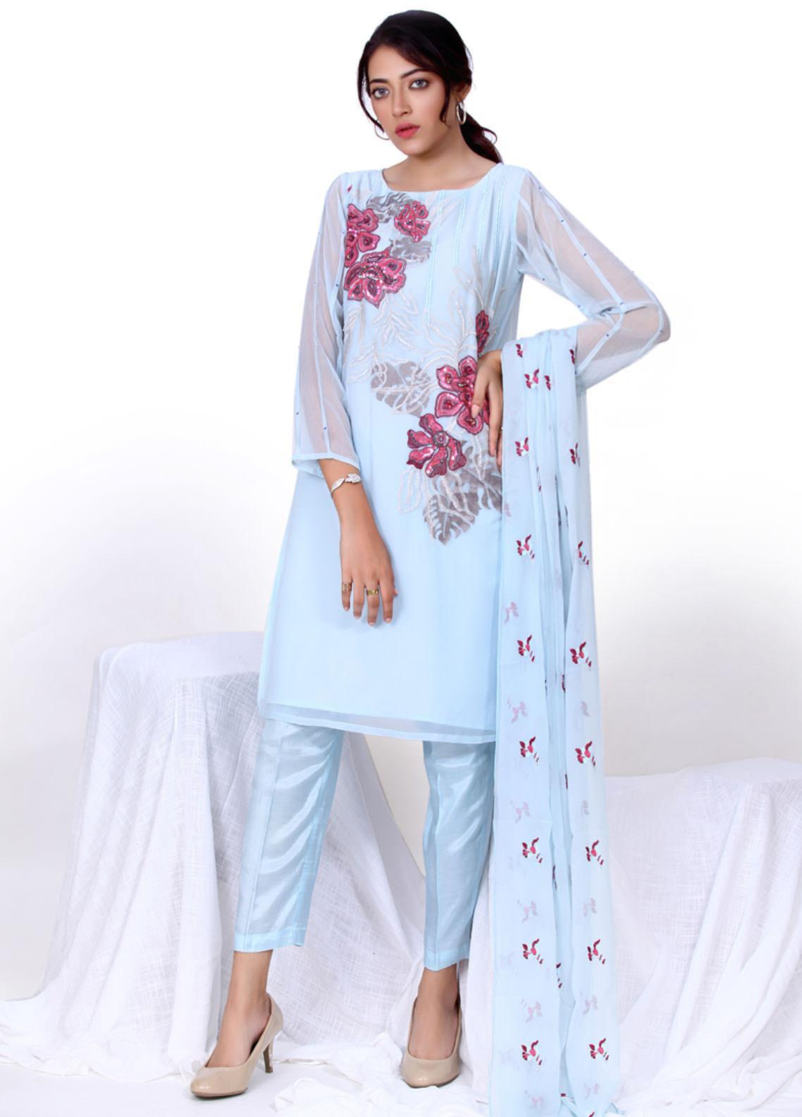 Change Embroidered Chiffon Stitched 3 Piece Suit  CK2264 Chambray