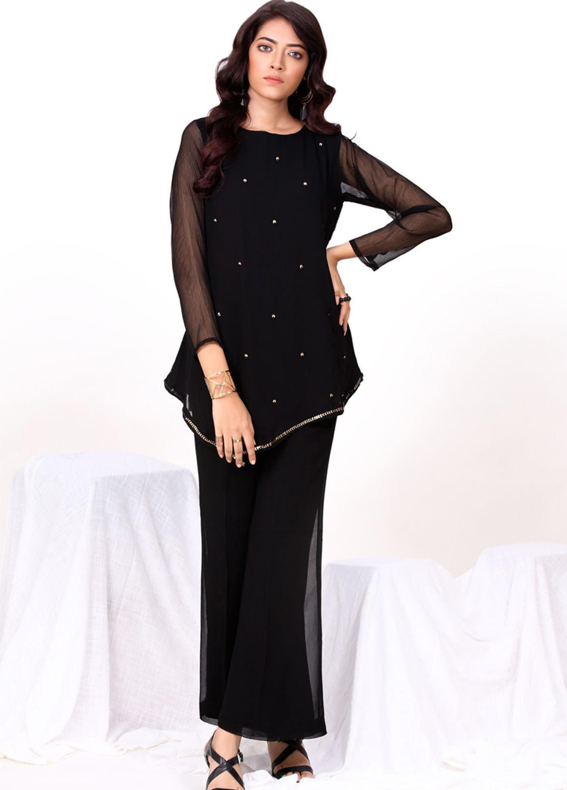 Change Embroidered Chiffon Stitched 2 Piece Suit  CK2292 Black