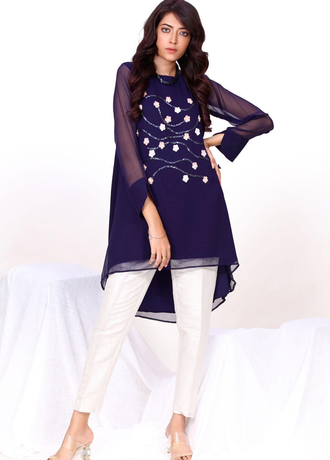 Change Embroidered Chiffon Stitched Kurtis  CK2330 Navy