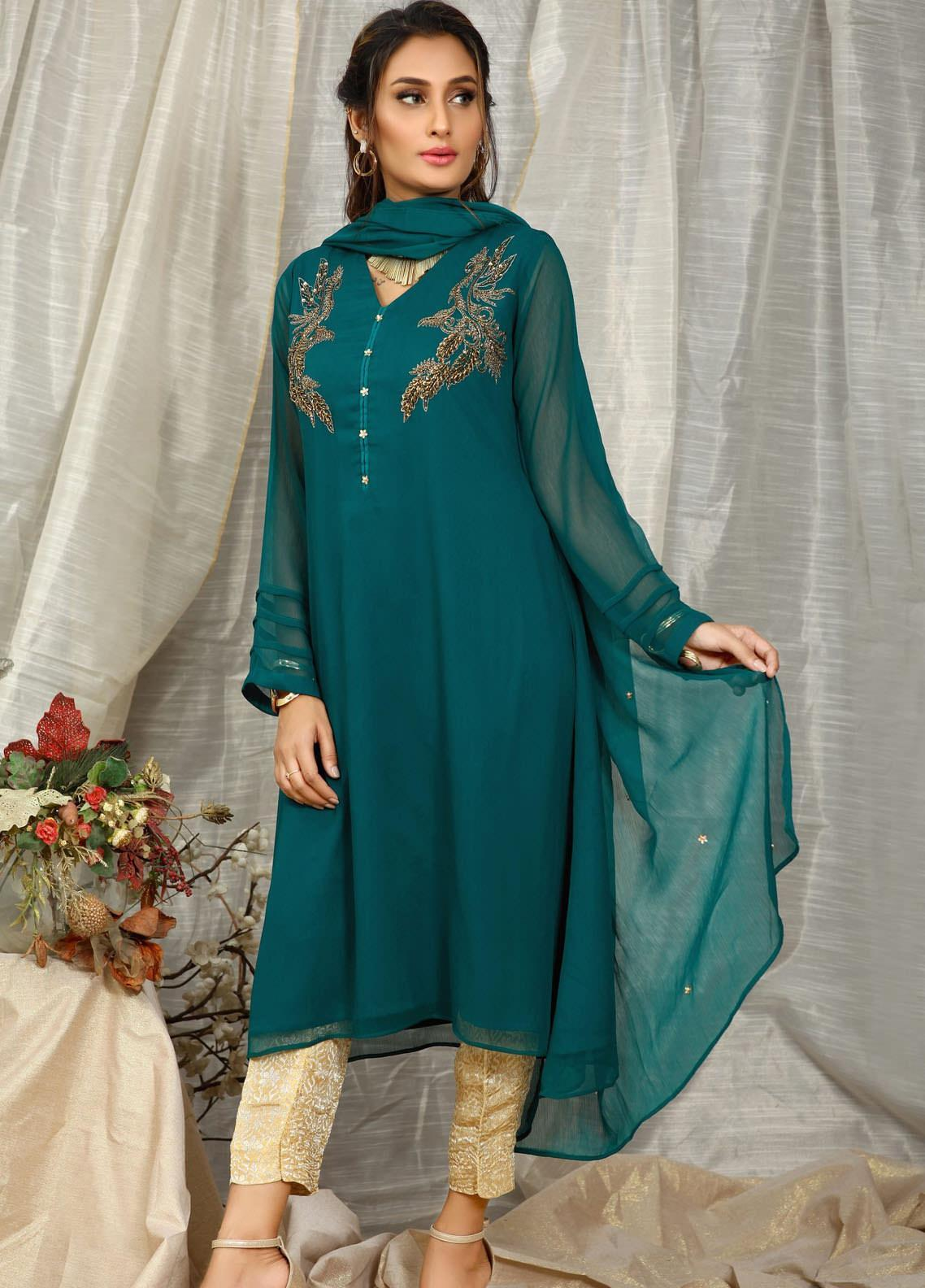 Change Embroidered Chiffon Stitched 2 Piece Suit CK2341 Emerld Green