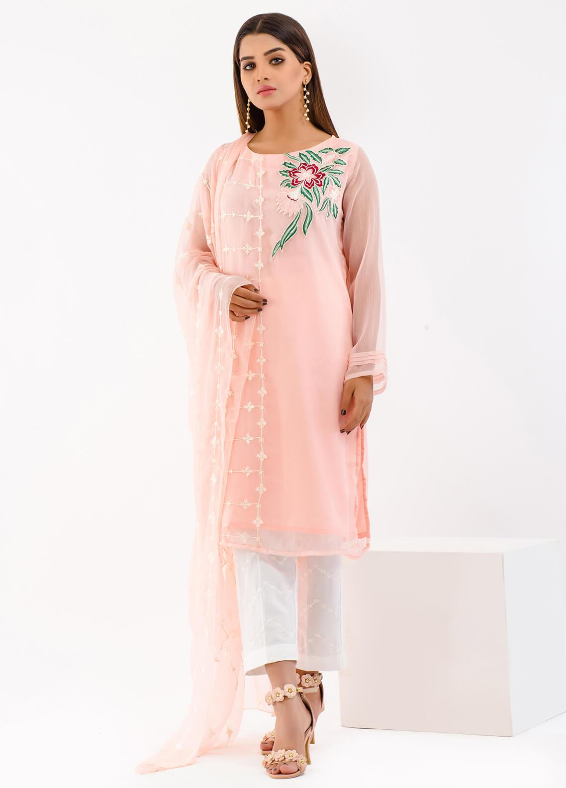 Change Embroidered Chiffon Stitched 2 Piece Suit ECH90 Pink