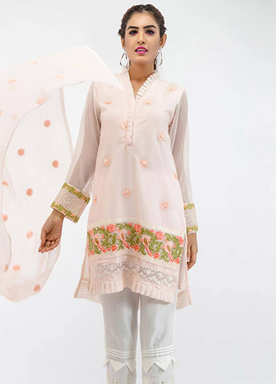 Change Embroidered Chiffon Pret 2 Piece Suit ECH 74 Baby Pink