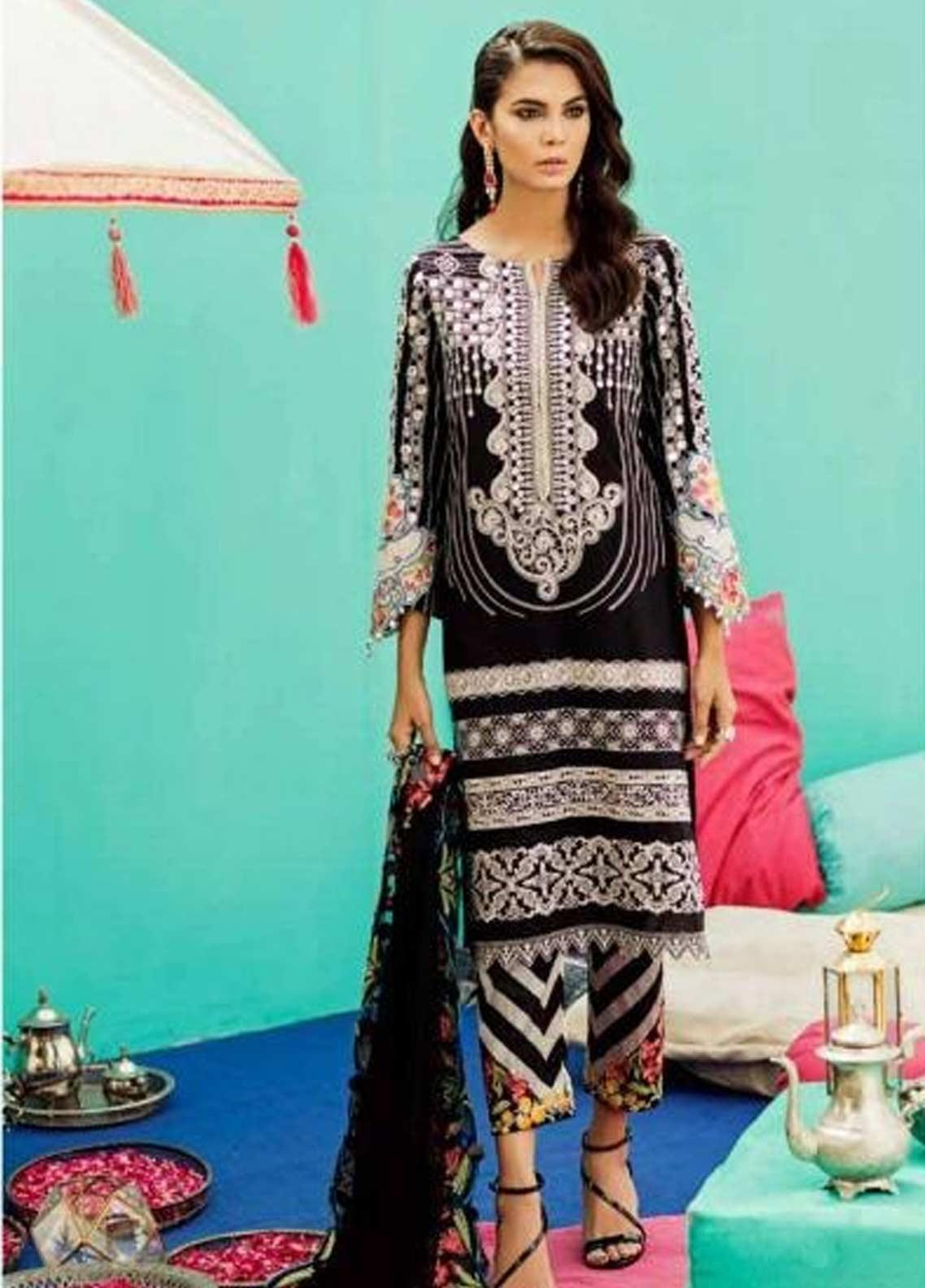 Charizma Embroidered Lawn Unstitched 3 Piece Suit CRZ19EF 35 DARK NIGHT - Festive Collection