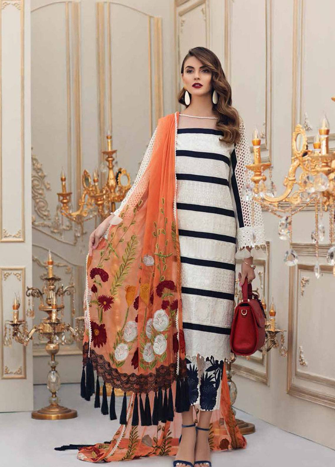 799cab9406 Charizma Embroidered Lawn Unstitched 3 Piece Suit CRZ19L 05 - Spring ...