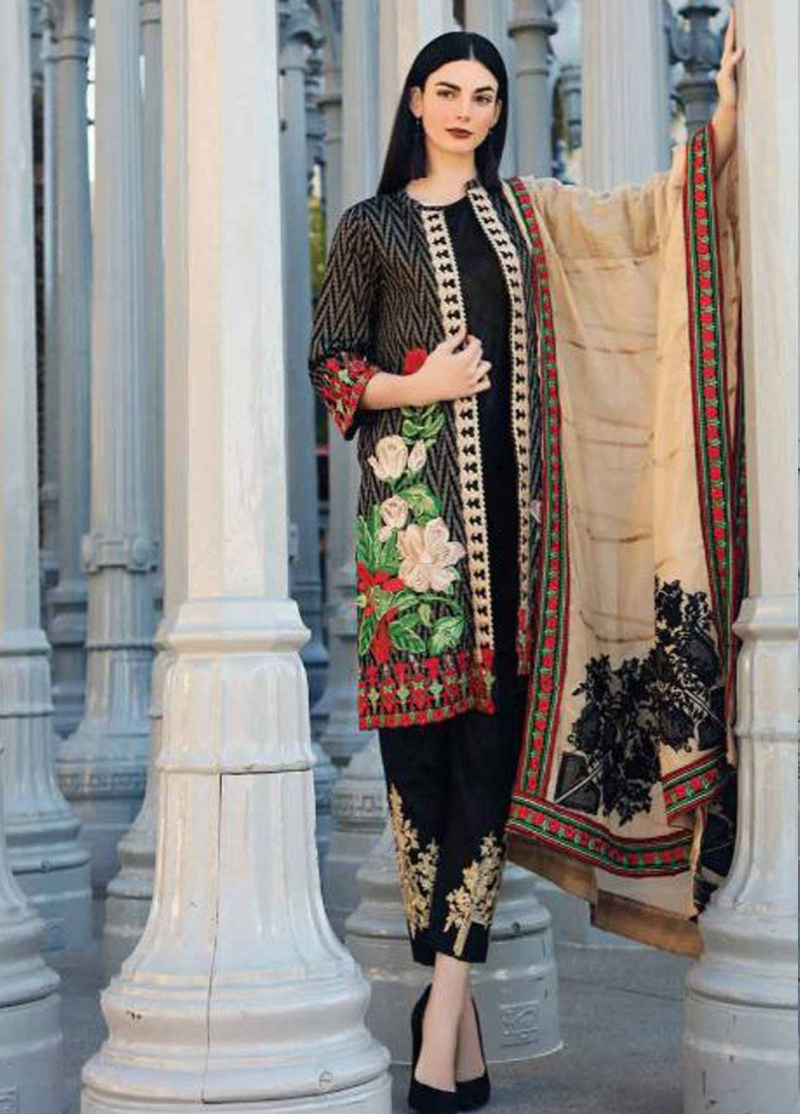 45e89a05eb Charizma Embroidered Jacquard Unstitched 3 Piece Suit CRZ19J 04 - Spring /  Summer Collection