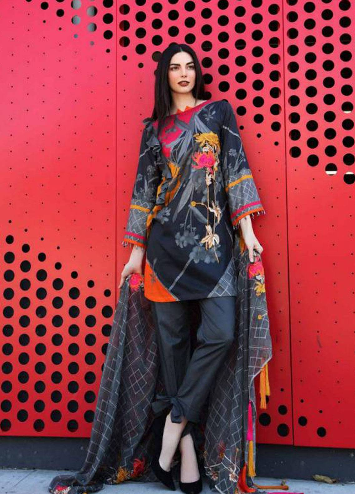 4ac9e51fe9 Charizma Naranji Embroidered Lawn Unstitched 3 Piece Suit CRZ19N 10 -  Spring / Summer Collection