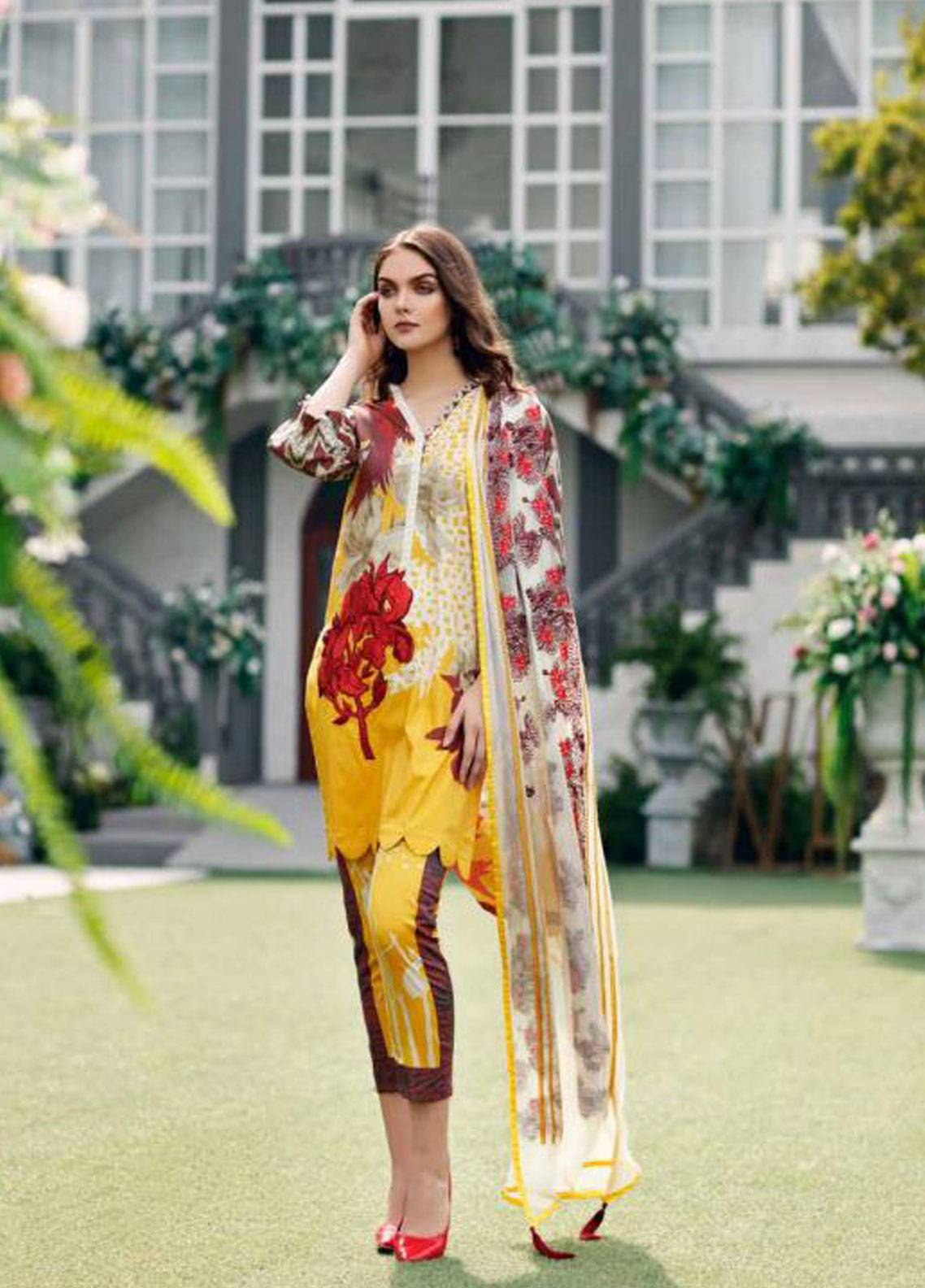 950c64fb35 Charizma Naranji Embroidered Lawn Unstitched 3 Piece Suit CRZ19N 14 ...