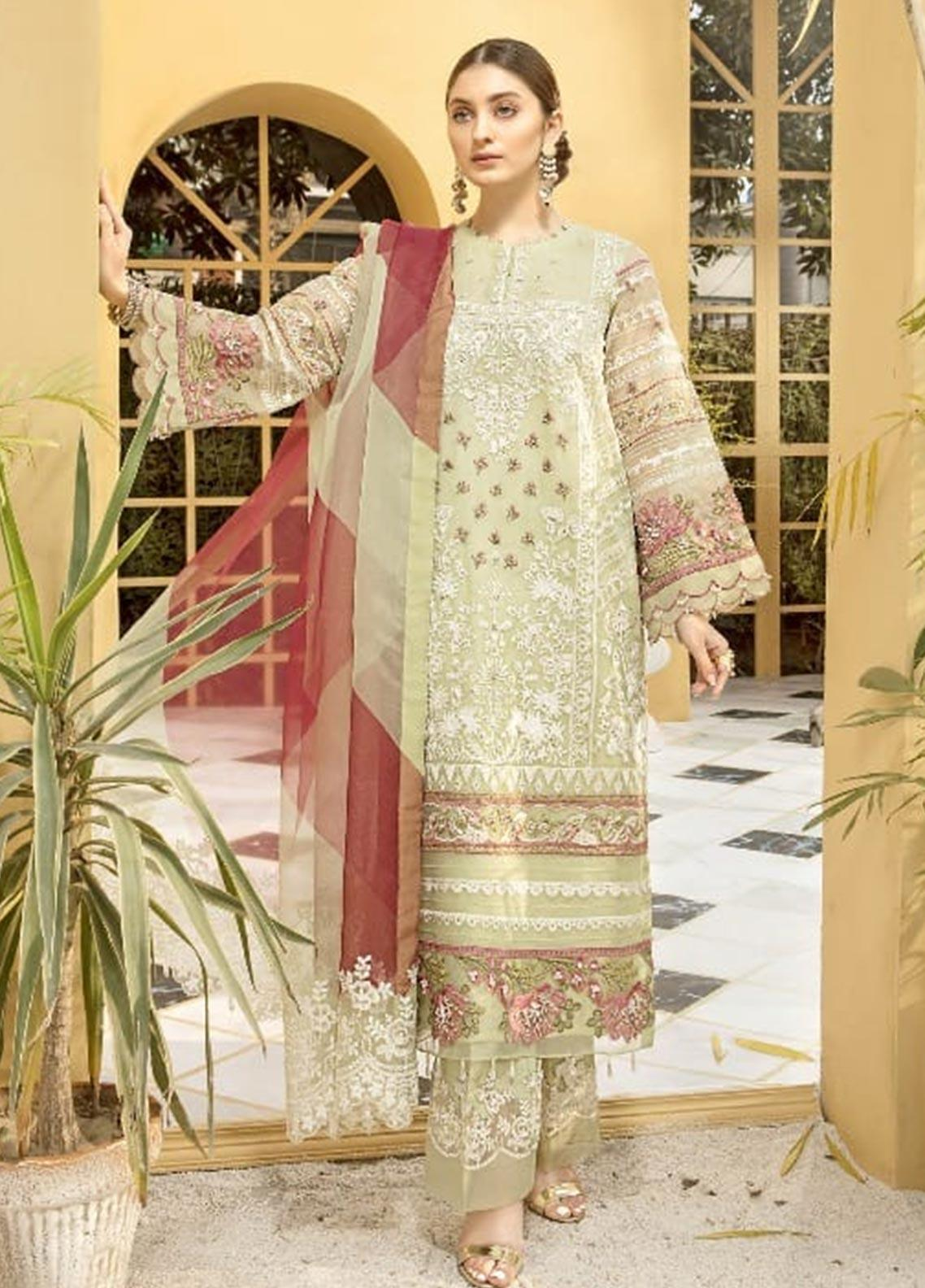 Charizma Embroidered Organza Unstitched 3 Piece Suit CRZ20ML 01 - Luxury Collection