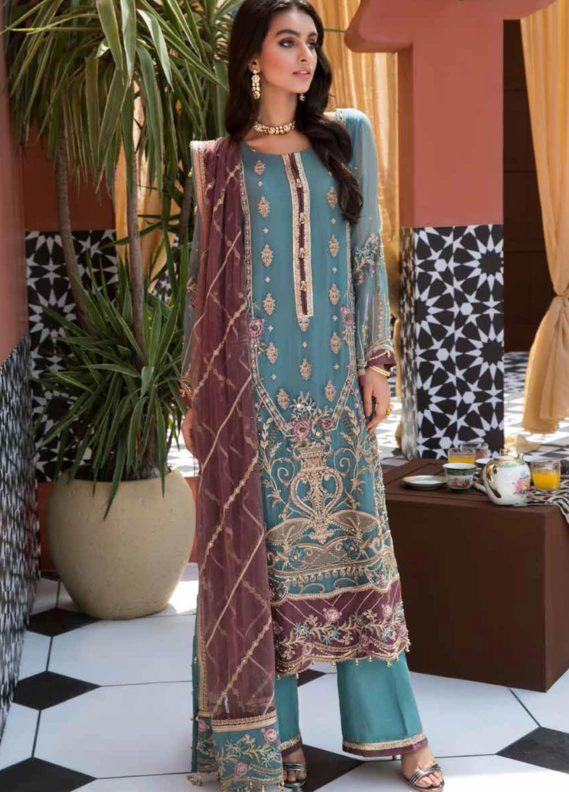 Mehrosh by Charizma Embroidered Chiffon Unstitched 3 Piece Suit CRZ20WE 07 Blue Reflection - Wedding Collection