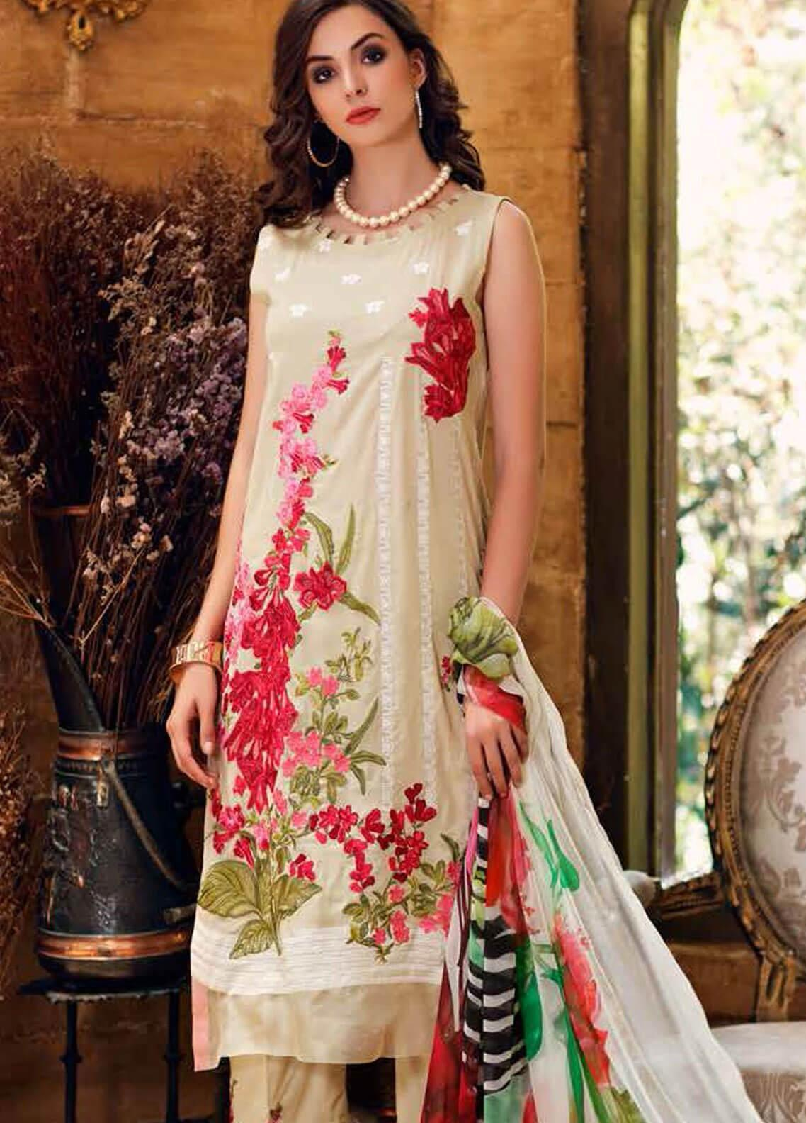 Charizma Embroidered Swiss Voile Unstitched 3 Piece Suit CRZ19-S3 23 - Eid Collection