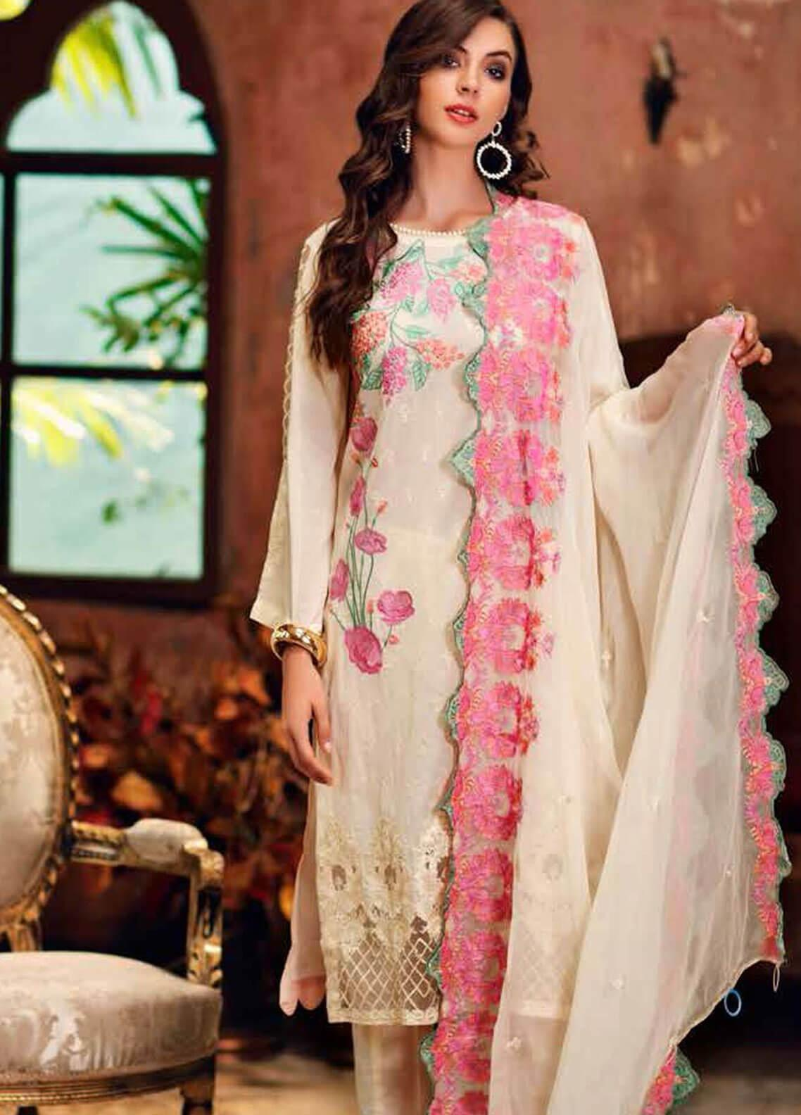 Charizma Embroidered Swiss Voile Unstitched 3 Piece Suit CRZ19-S3 30 - Eid Collection
