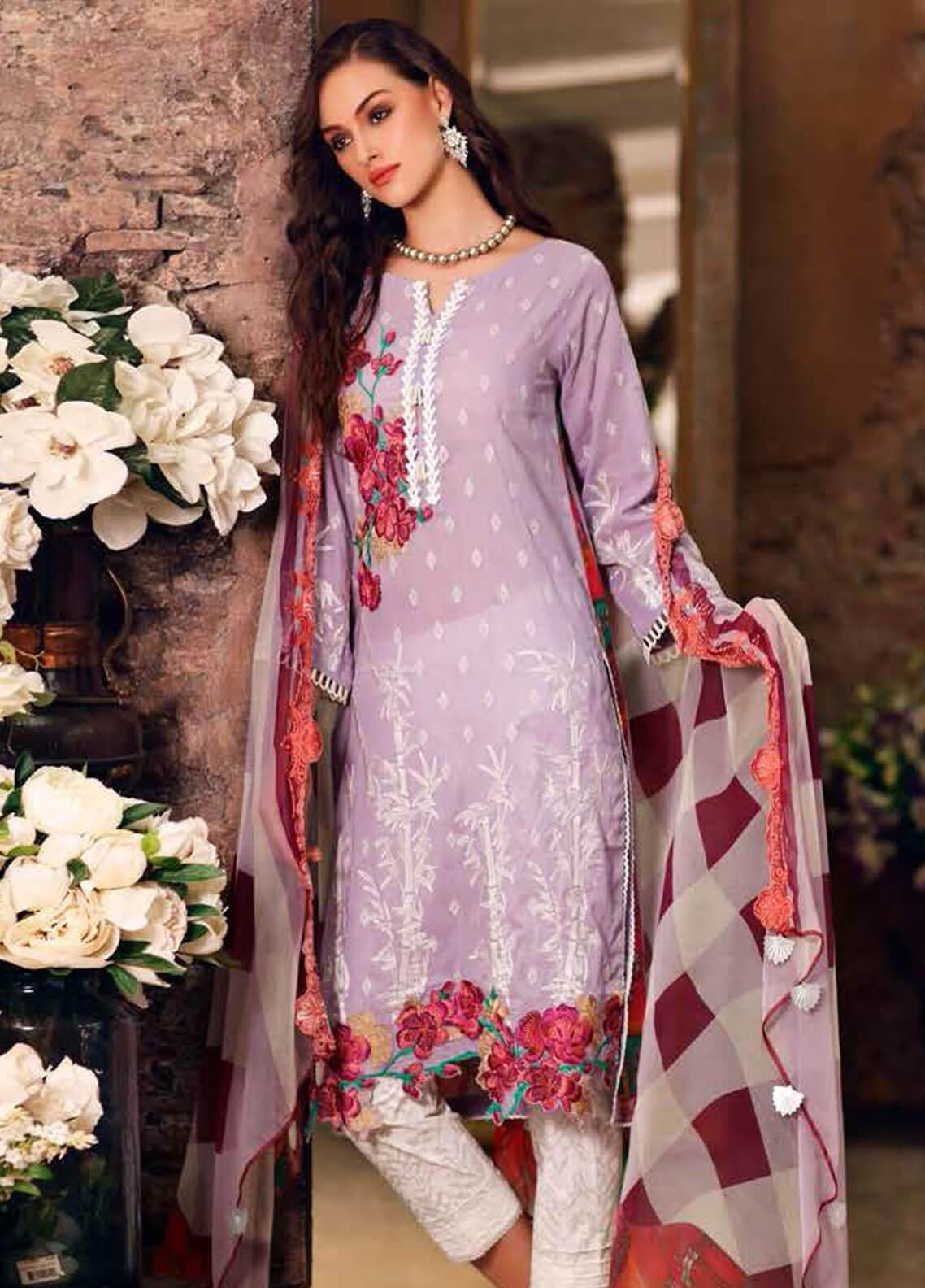 Charizma Embroidered Swiss Voile Unstitched 3 Piece Suit CRZ19-S3 31 - Eid Collection