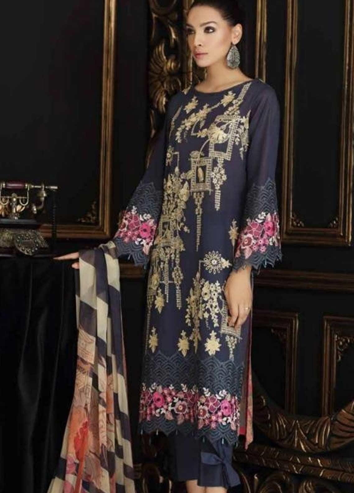 Charizma Embroidered Swiss Voile Unstitched 3 Piece Suit CRZ19-S4 34 - Festive Collection
