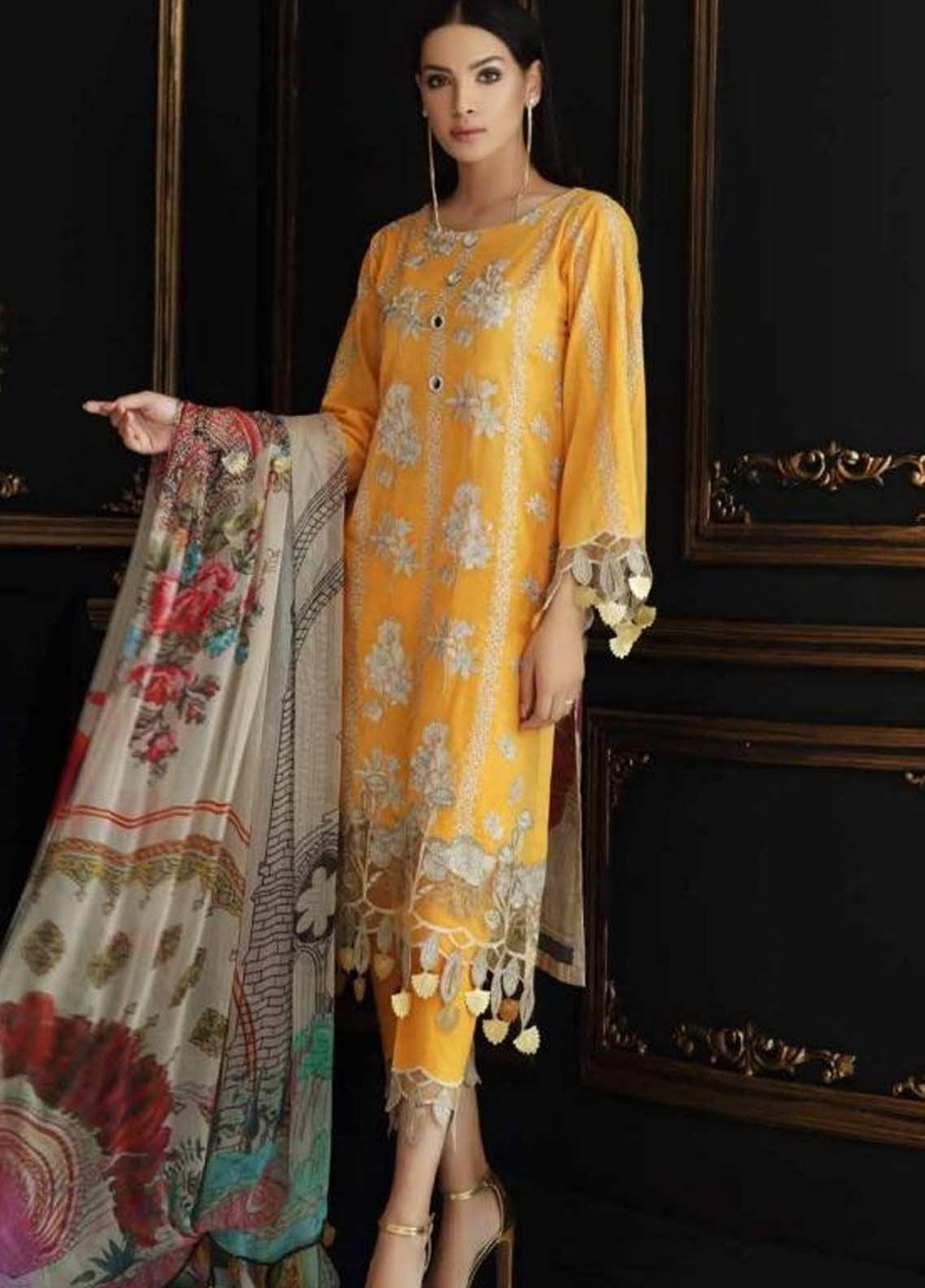 Charizma Embroidered Swiss Voile Unstitched 3 Piece Suit CRZ19-S4 38 - Festive Collection