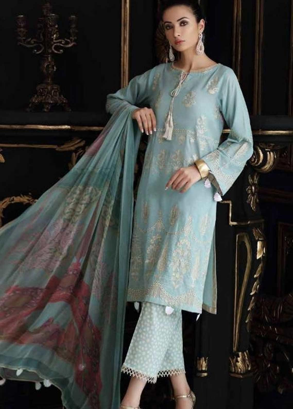 Charizma Embroidered Swiss Voile Unstitched 3 Piece Suit CRZ19-S4 42 - Festive Collection