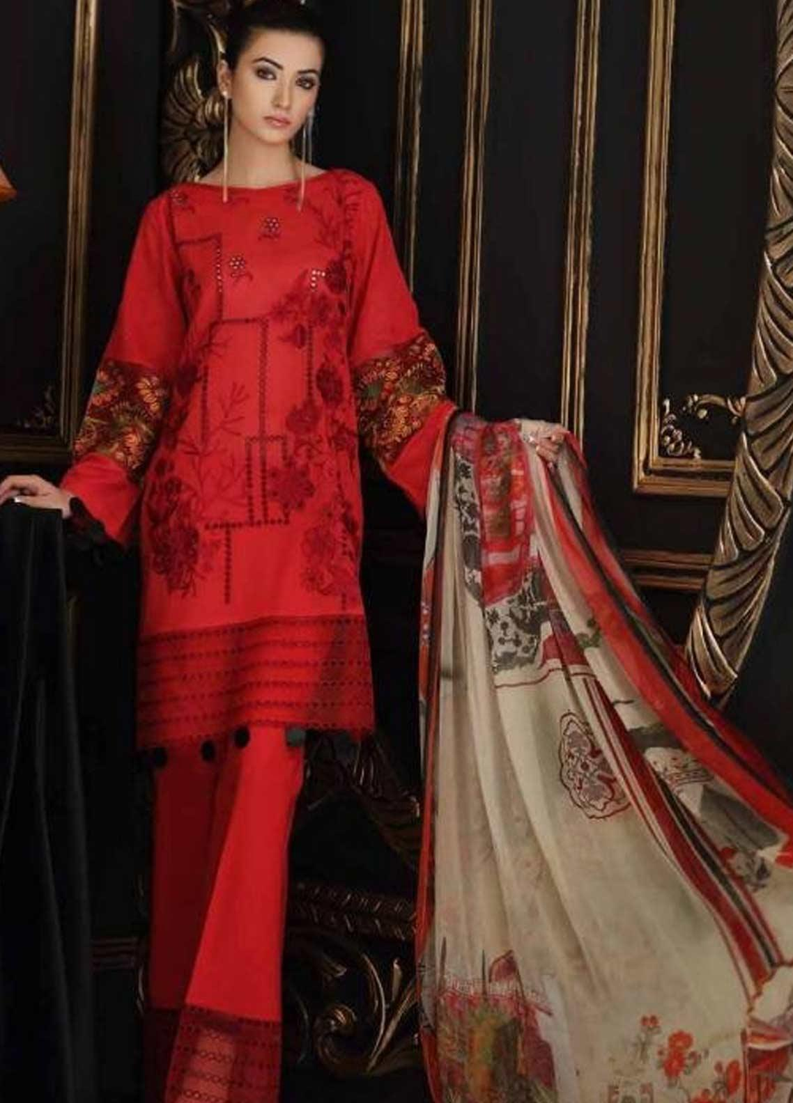 Charizma Embroidered Swiss Voile Unstitched 3 Piece Suit CRZ19-S4 43 - Festive Collection