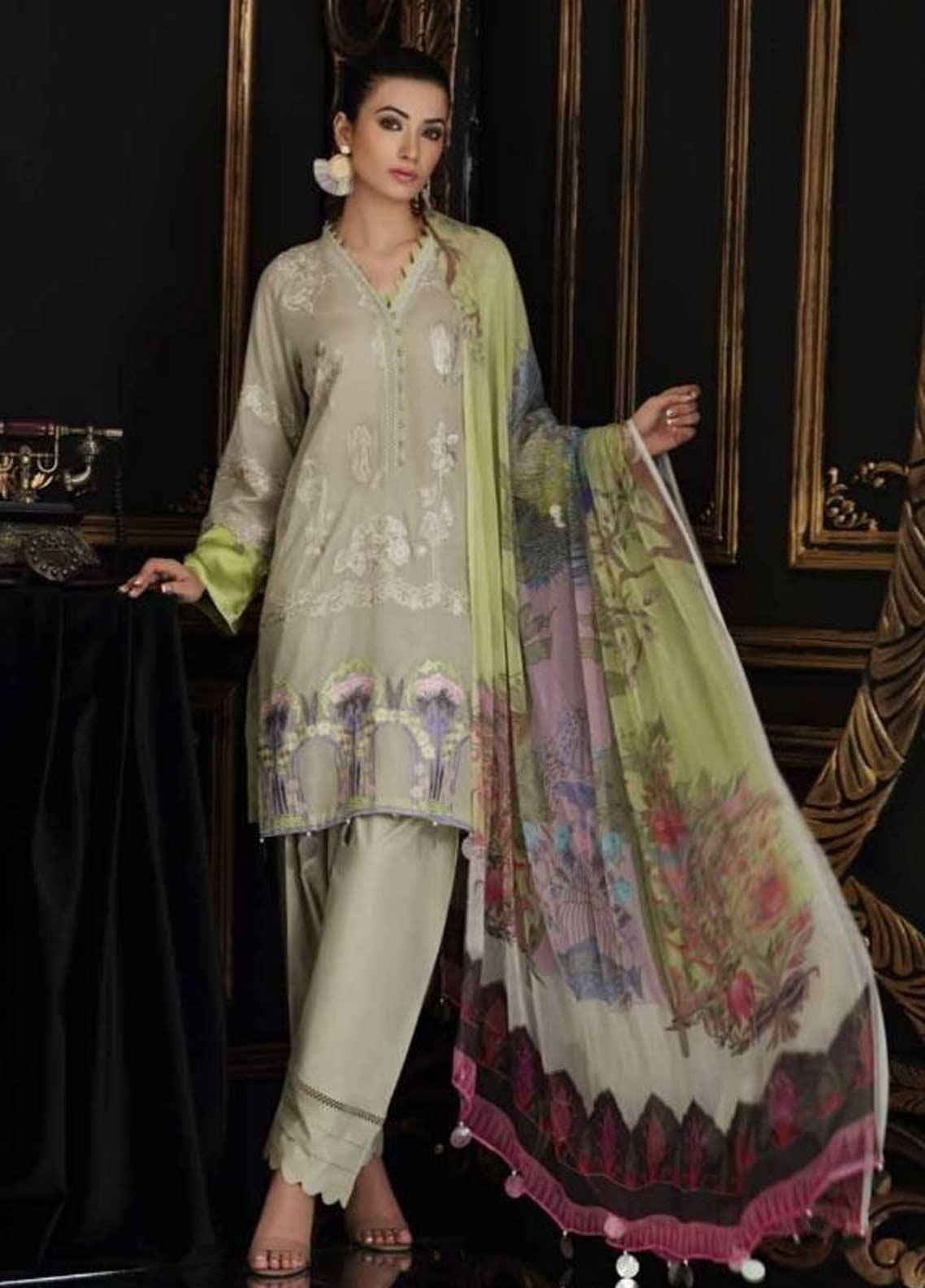 Charizma Embroidered Swiss Voile Unstitched 3 Piece Suit CRZ19-S4 44 - Festive Collection