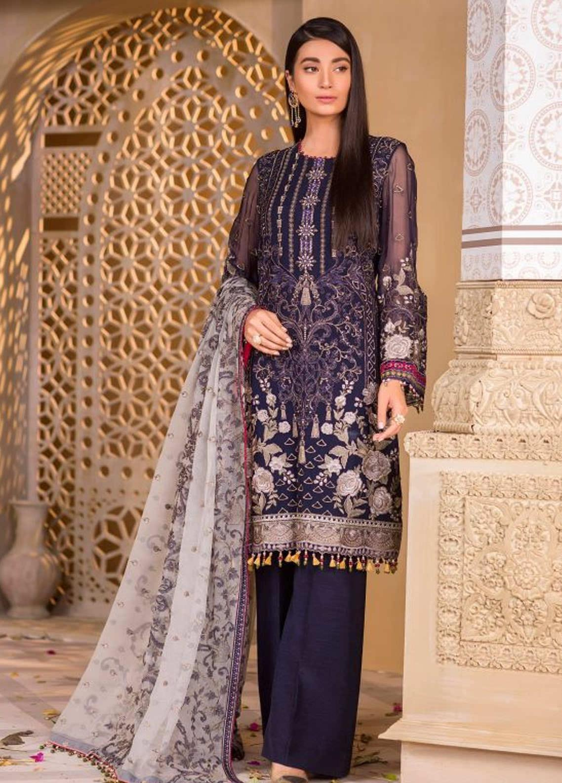 Chashme Baddoor by Flossie Embroidered Chiffon Unstitched 3 Piece Suit FL20CB 607 Aubergine - Luxury Formal Collection