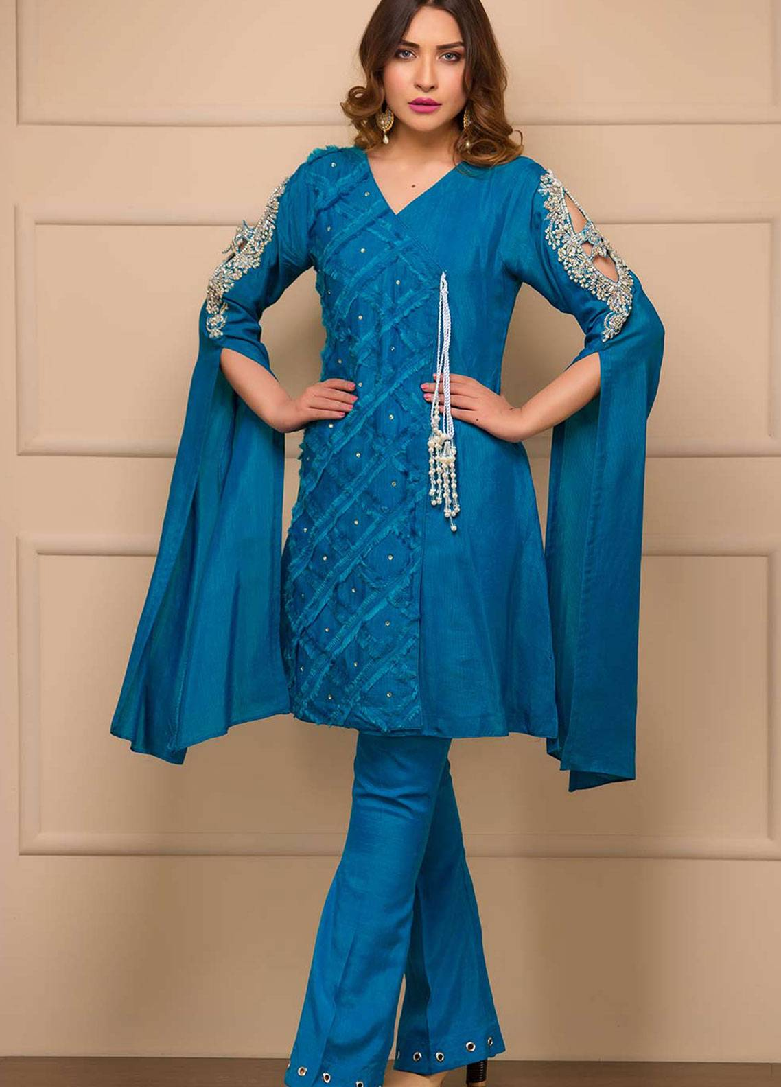 Chic Ophicial Embroidered Cotton Silk Stitched 2 Piece Suit Blooming Blue