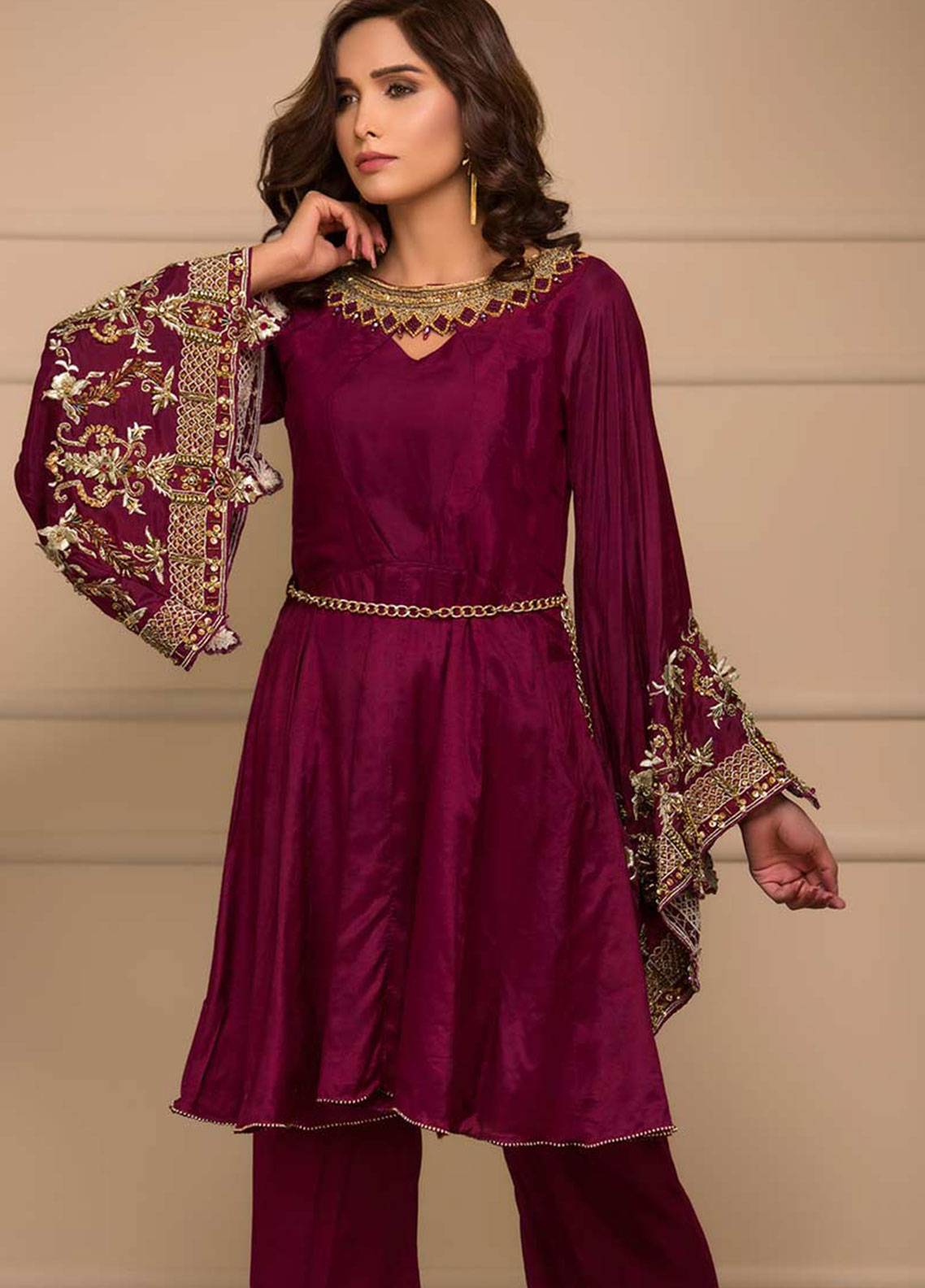 Chic Ophicial Embroidered Cotton Silk Stitched 2 Piece Suit Chic Maroon