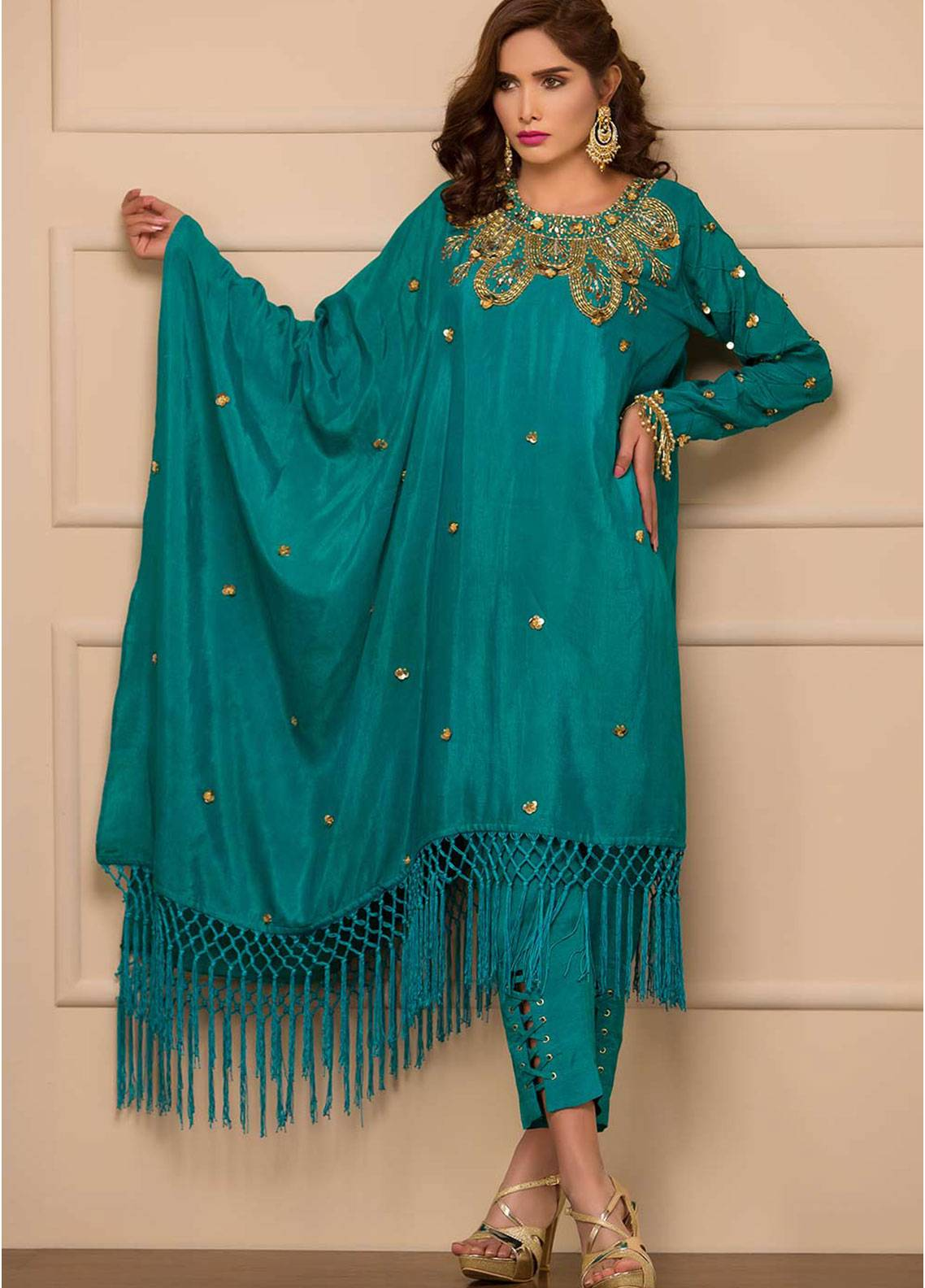Chic Ophicial Embroidered Cotton Silk Stitched 2 Piece Suit Emerald essential