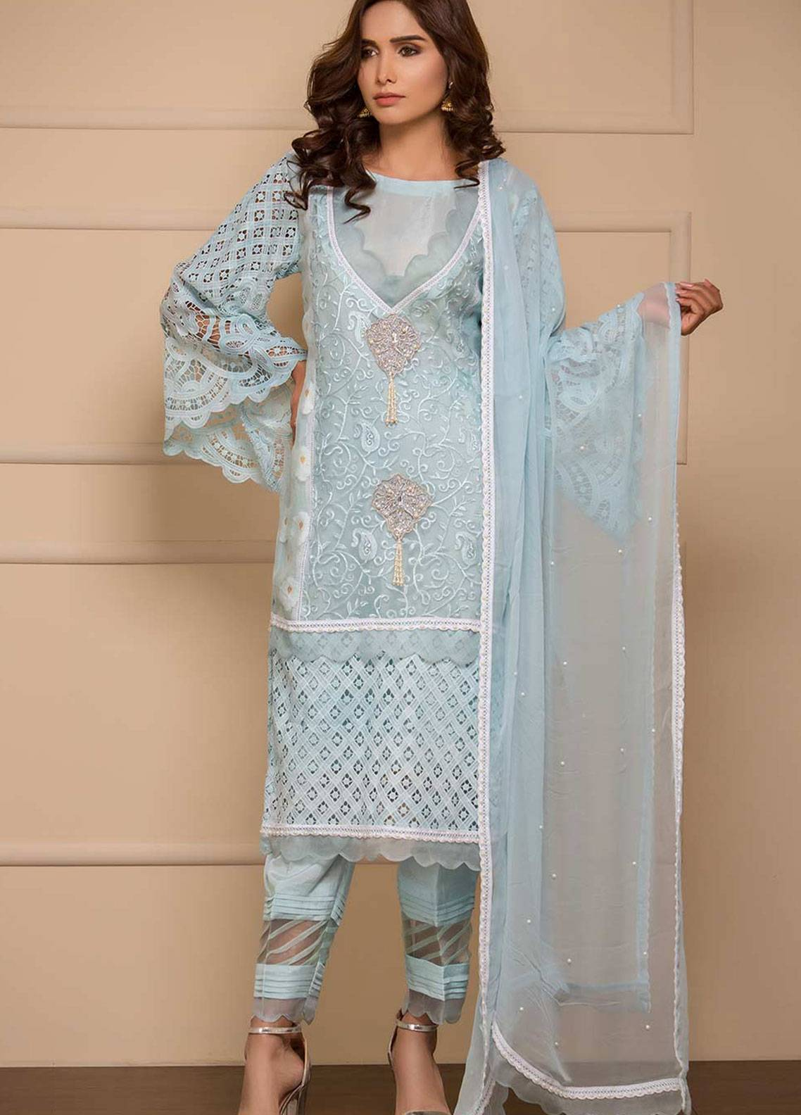 Chic Ophicial Embroidered Organza Stitched 3 Piece Suit Ice Delight