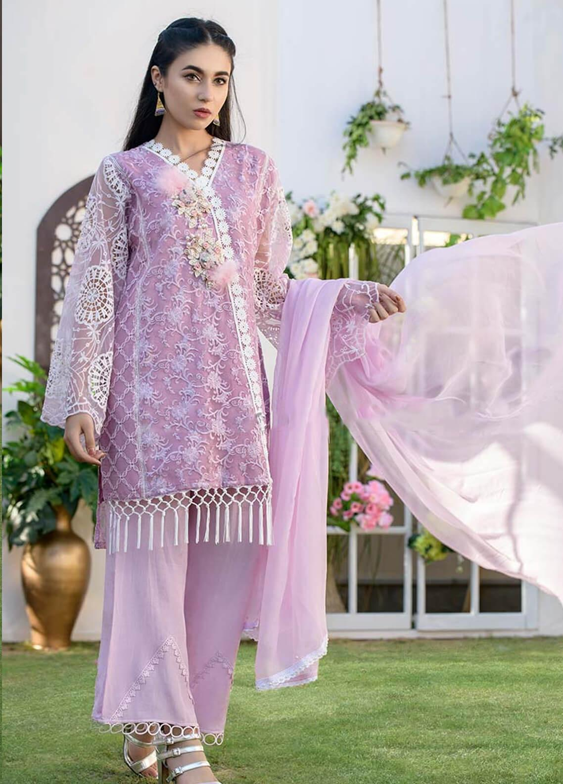 Chic Ophicial Embroidered Organza Stitched 3 Piece Suit CH03 Jazmine