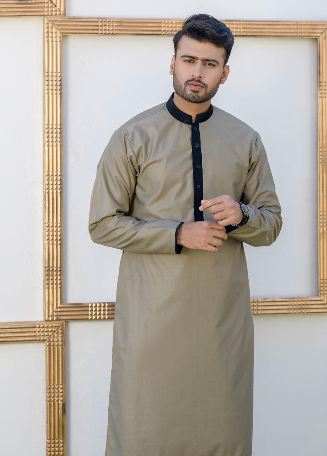 Chic Ophicial Cotton Formal Men Kurta Pajama with Waistcoat - CH09 Dusky Brown
