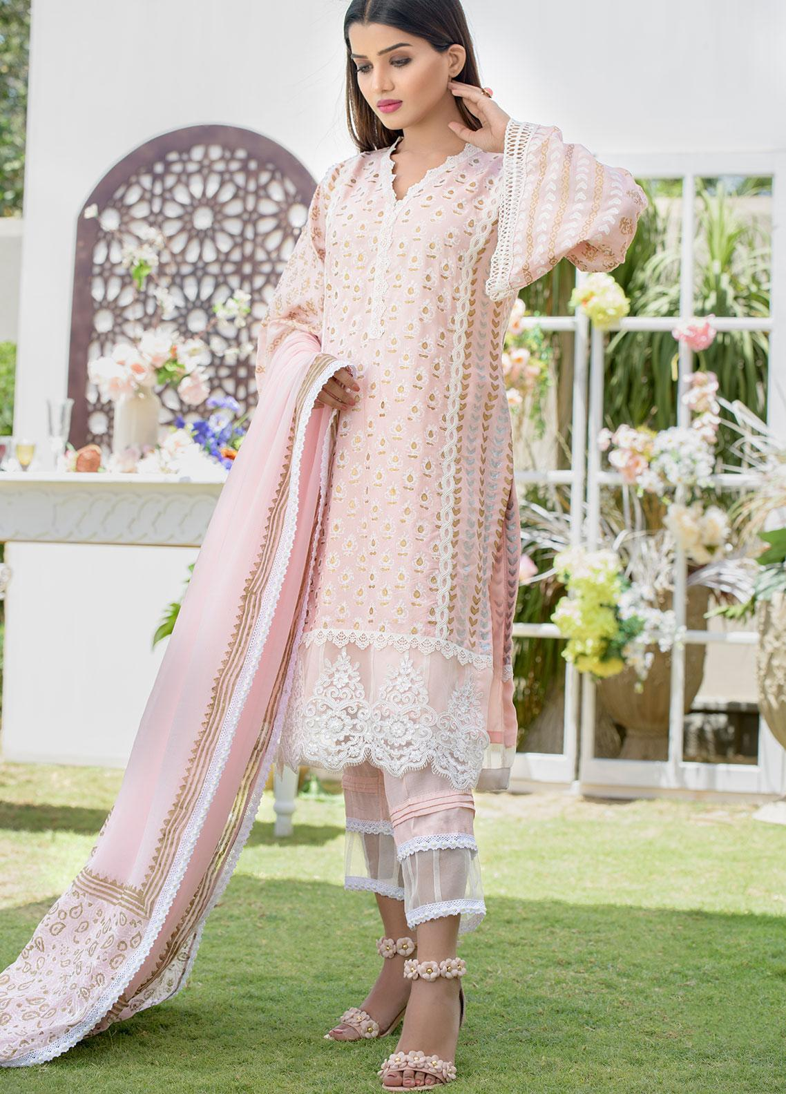 Chic Ophicial Embroidered Cotton Silk Stitched 3 Piece Suit CH17 Peach Block Print