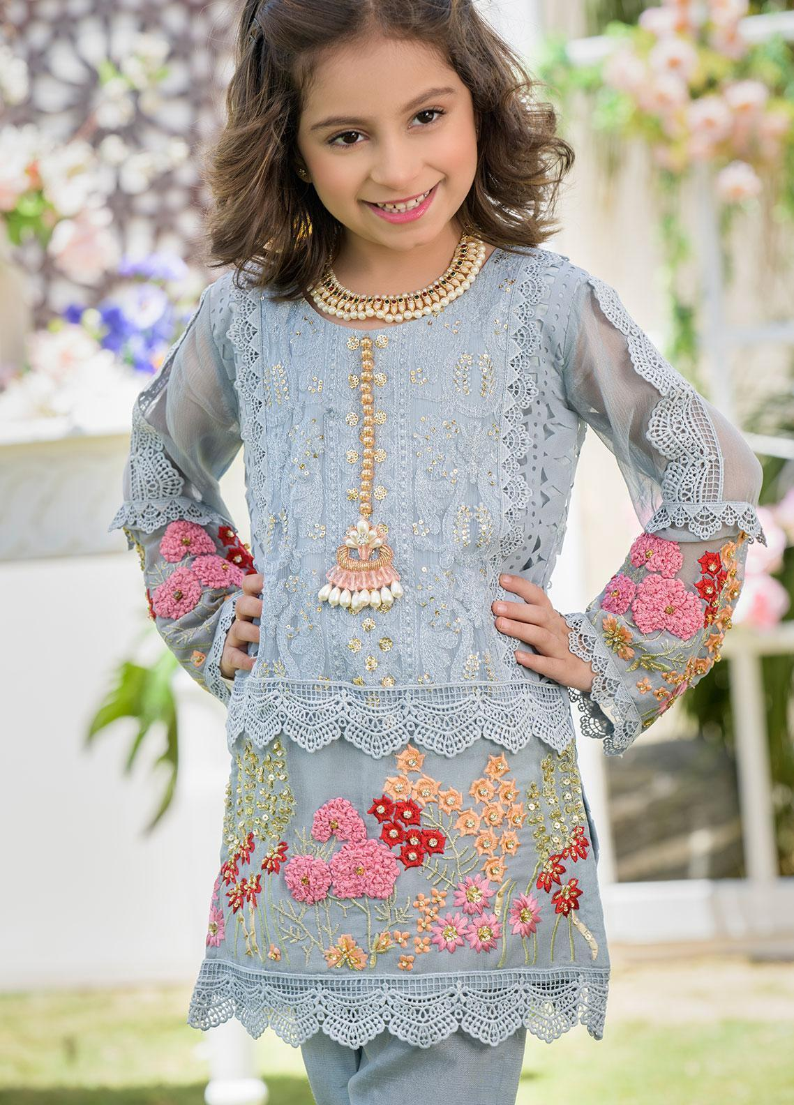 Chic Ophicial Chiffon Formal 2 Piece Suit for Girls - CH20 Carnation Grey