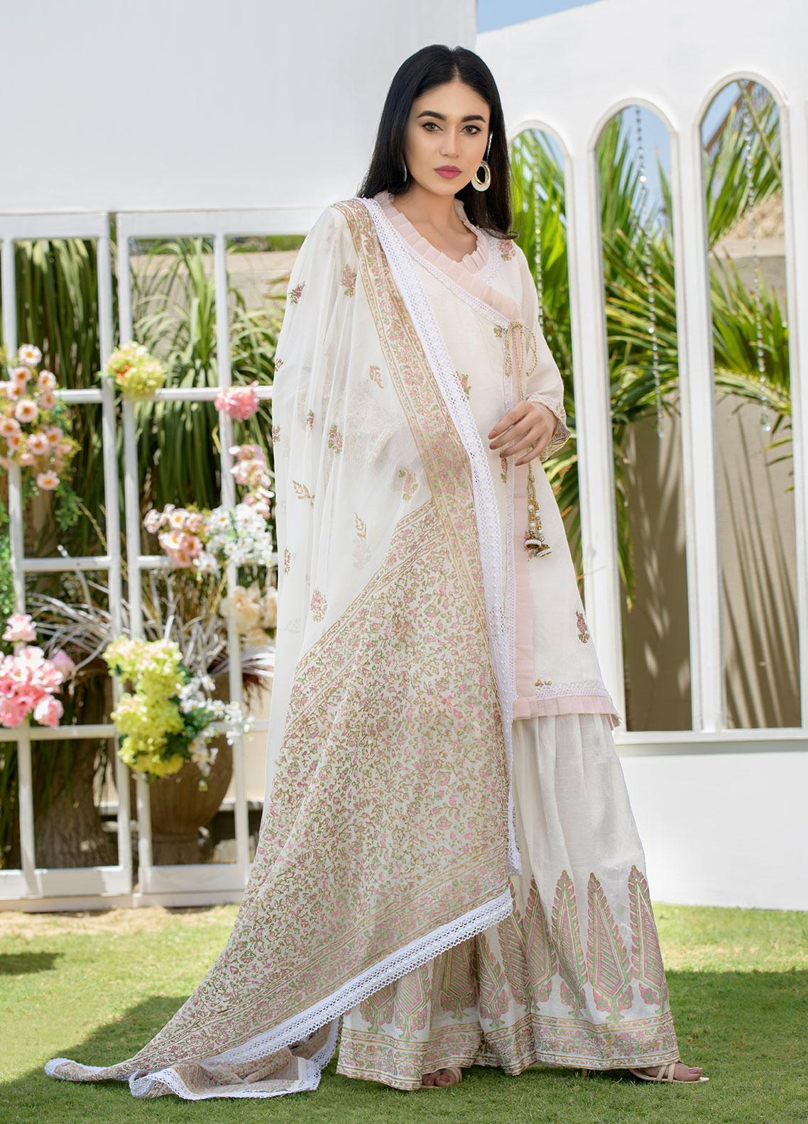 Chic Ophicial Embroidered Raw Silk Stitched 3 Piece Suit CH21 White Block Print