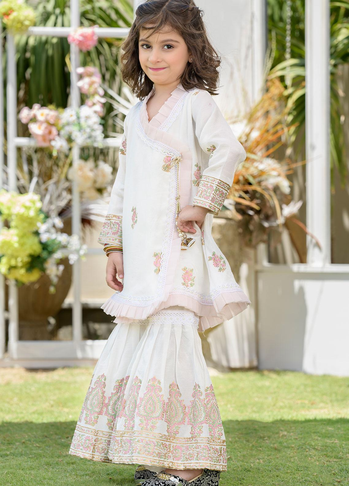 Chic Ophicial Raw Silk Formal Girls 2 Piece Suit - CH22 White Block Print