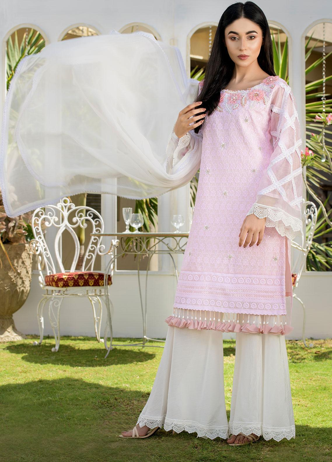 Chic Ophicial Embroidered Chikankari Stitched 3 Piece Suit CH27 Angellic Pink
