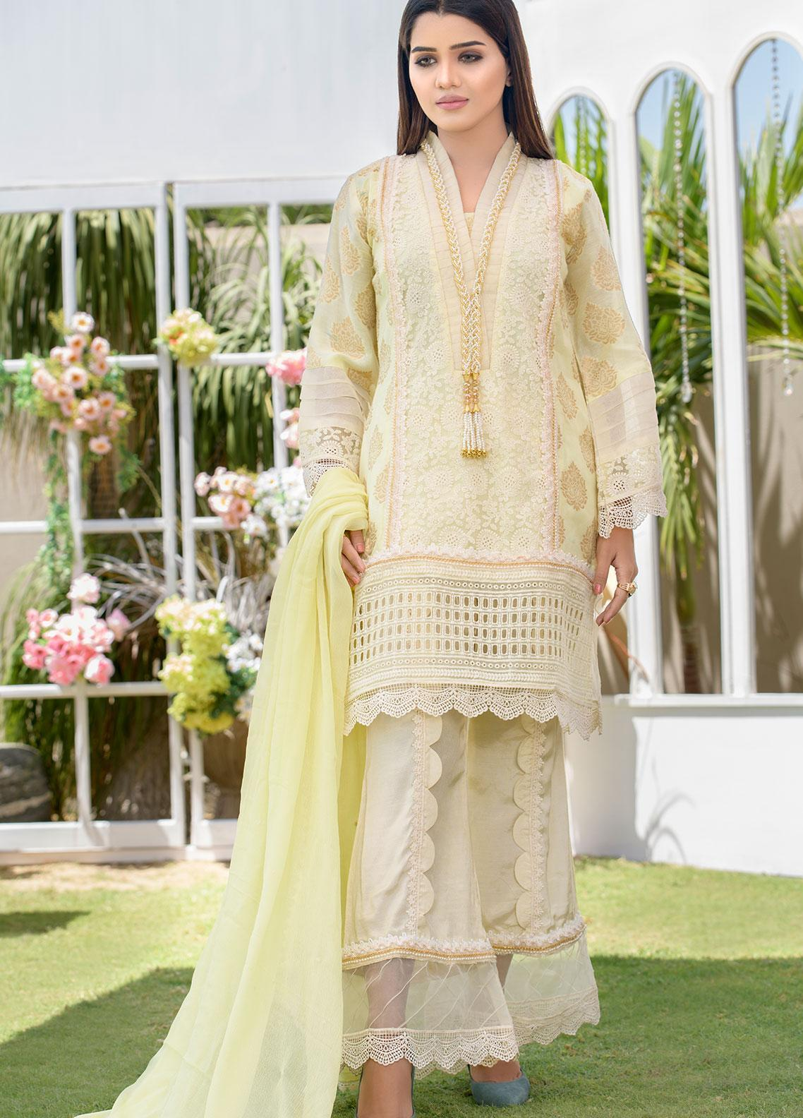 Chic Ophicial Embroidered Chikankari Stitched 3 Piece Suit CH29 Creamy cloud