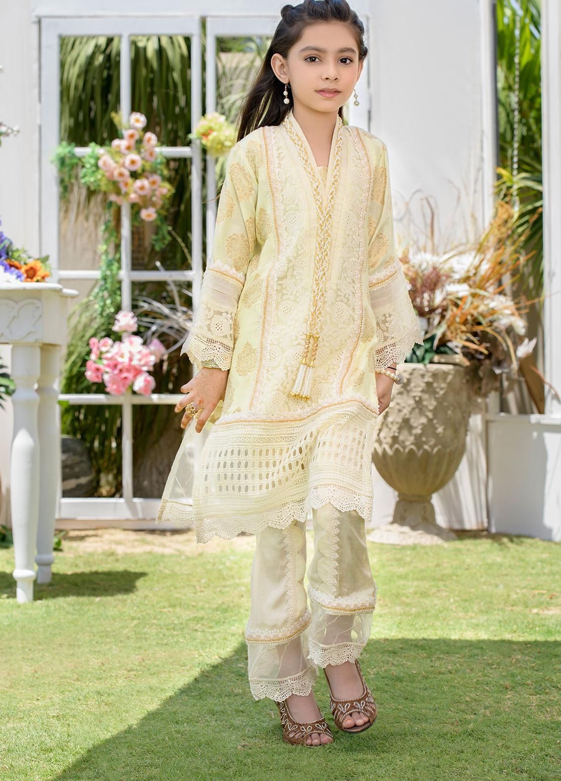 Chic Ophicial Chikankari Formal 2 Piece Suit for Girls - CH30 Creamy Cloud
