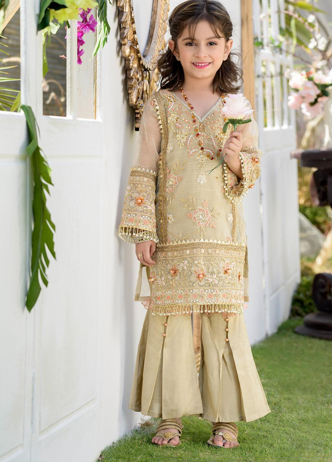 Chic Ophicial Khaadi Net Formal Girls 2 Piece Suit - CH38 Peachy Gold