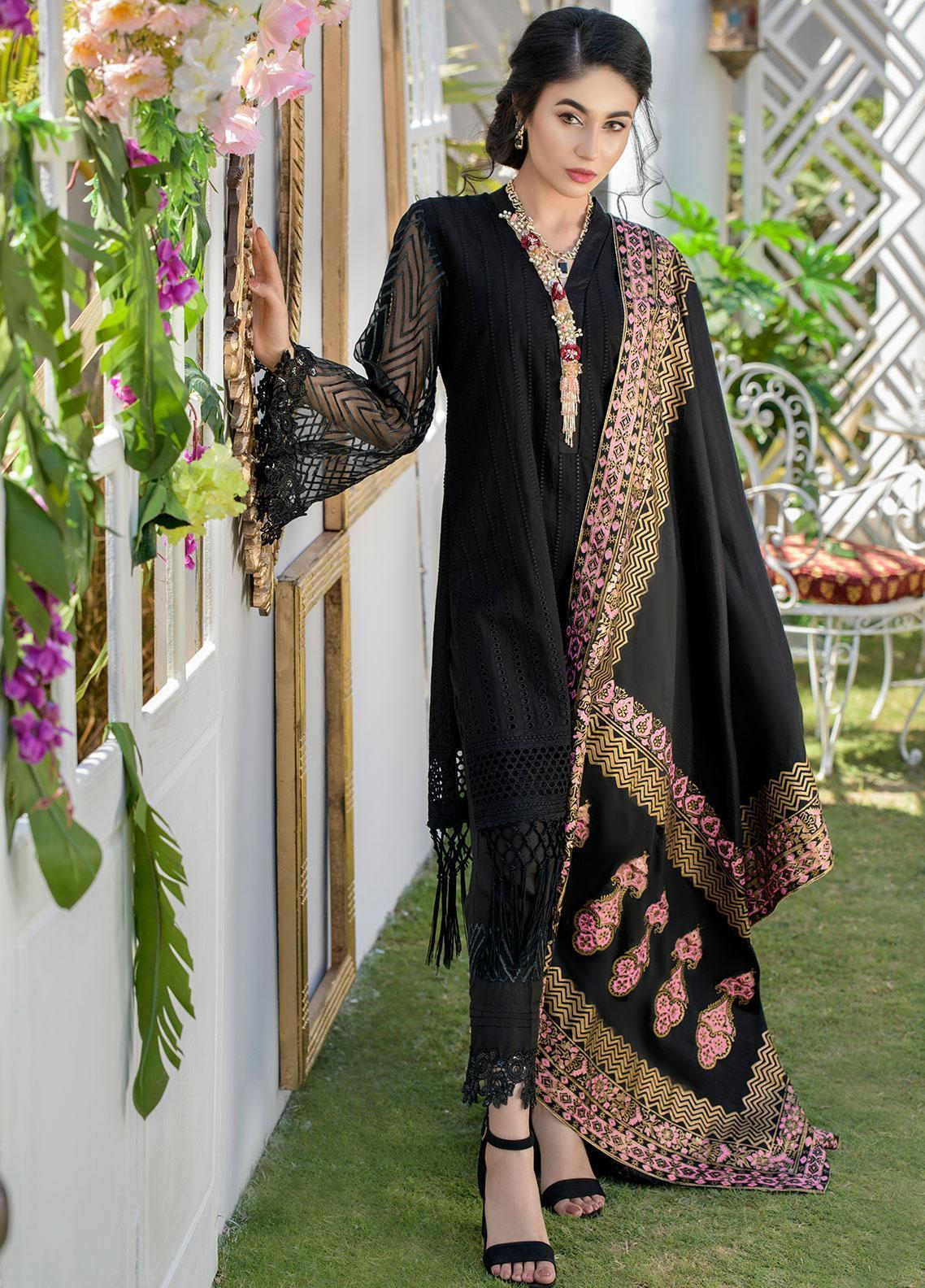 Chic Ophicial Embroidered Chikankari Stitched 3 Piece Suit CH39 Black Rose