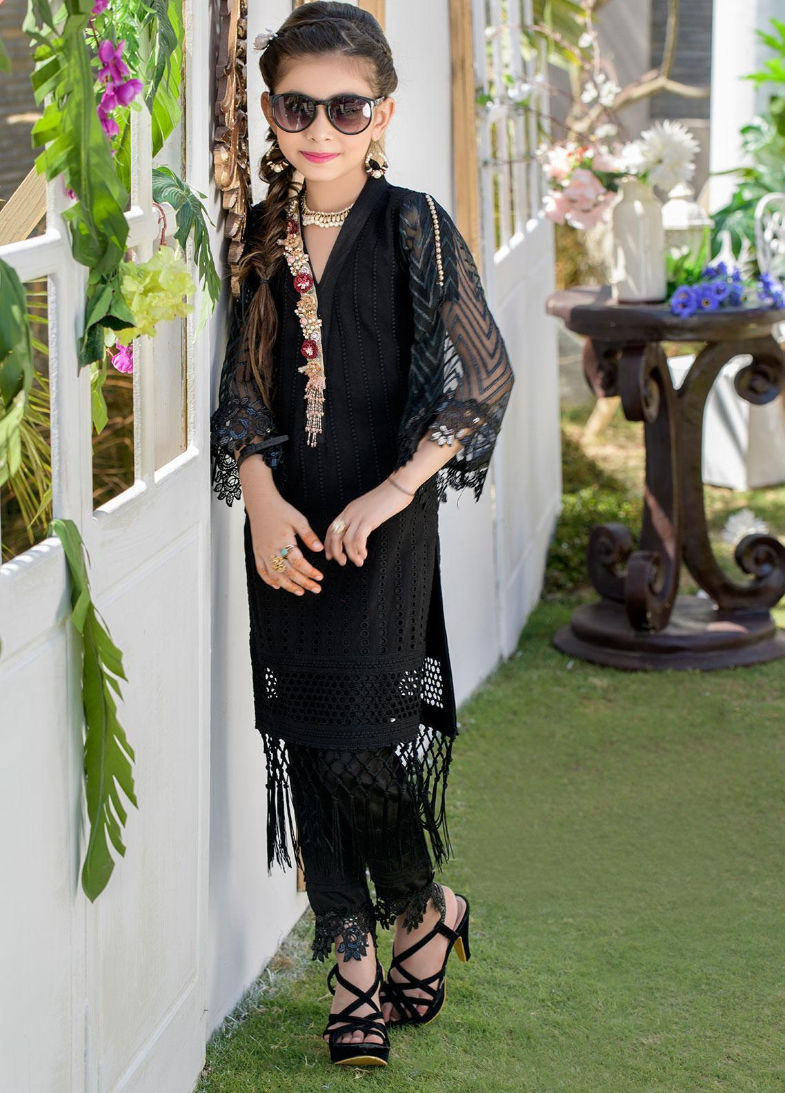 Chic Ophicial Chikankari Formal 2 Piece Suit for Girls - CH40 Black Rose