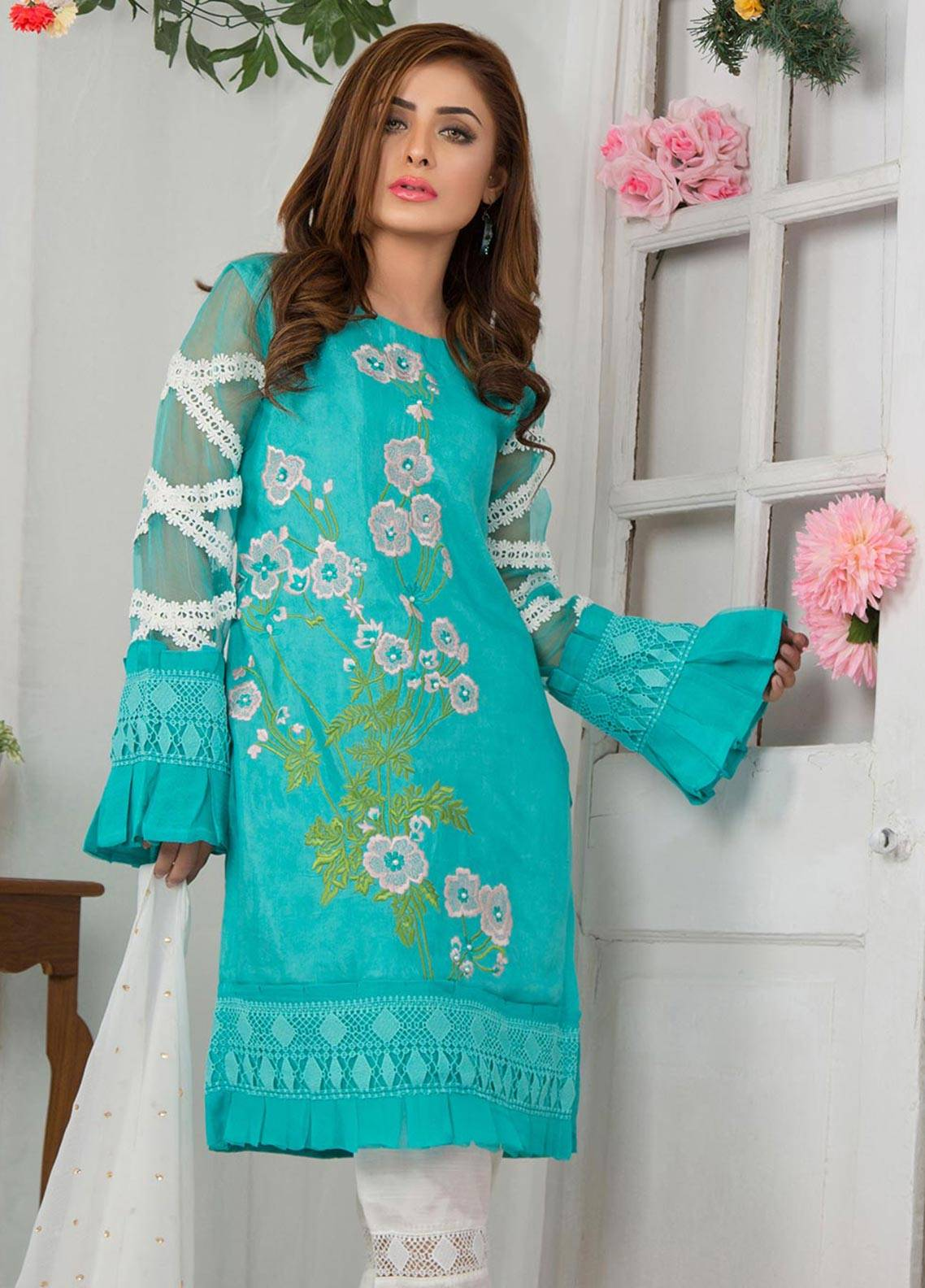 Chic Ophicial Embroidered Stitched 3 Piece Suit CF09 SEA GREEN DIVINE